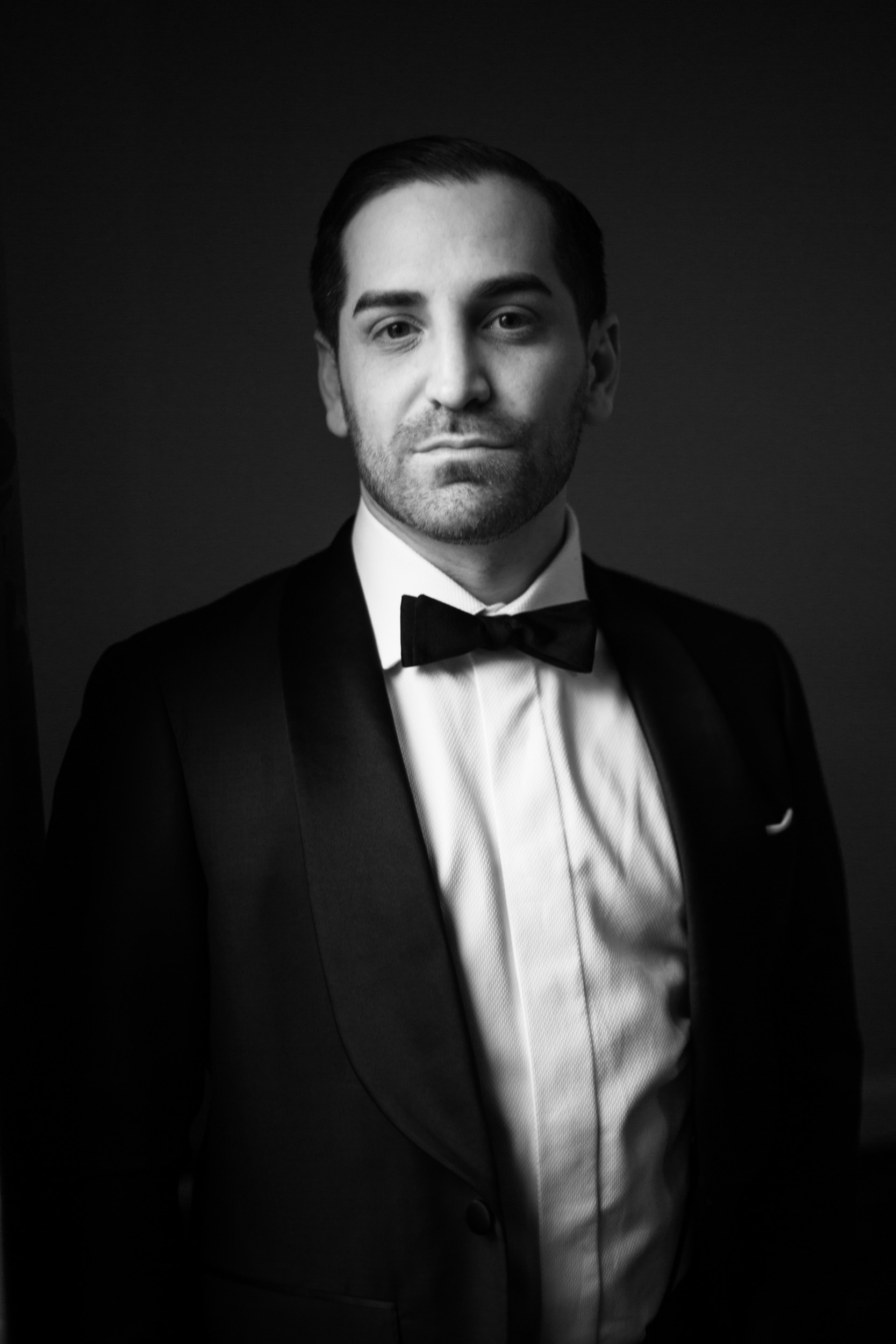 Wedding portrait of a groom at Palmer House Chicago