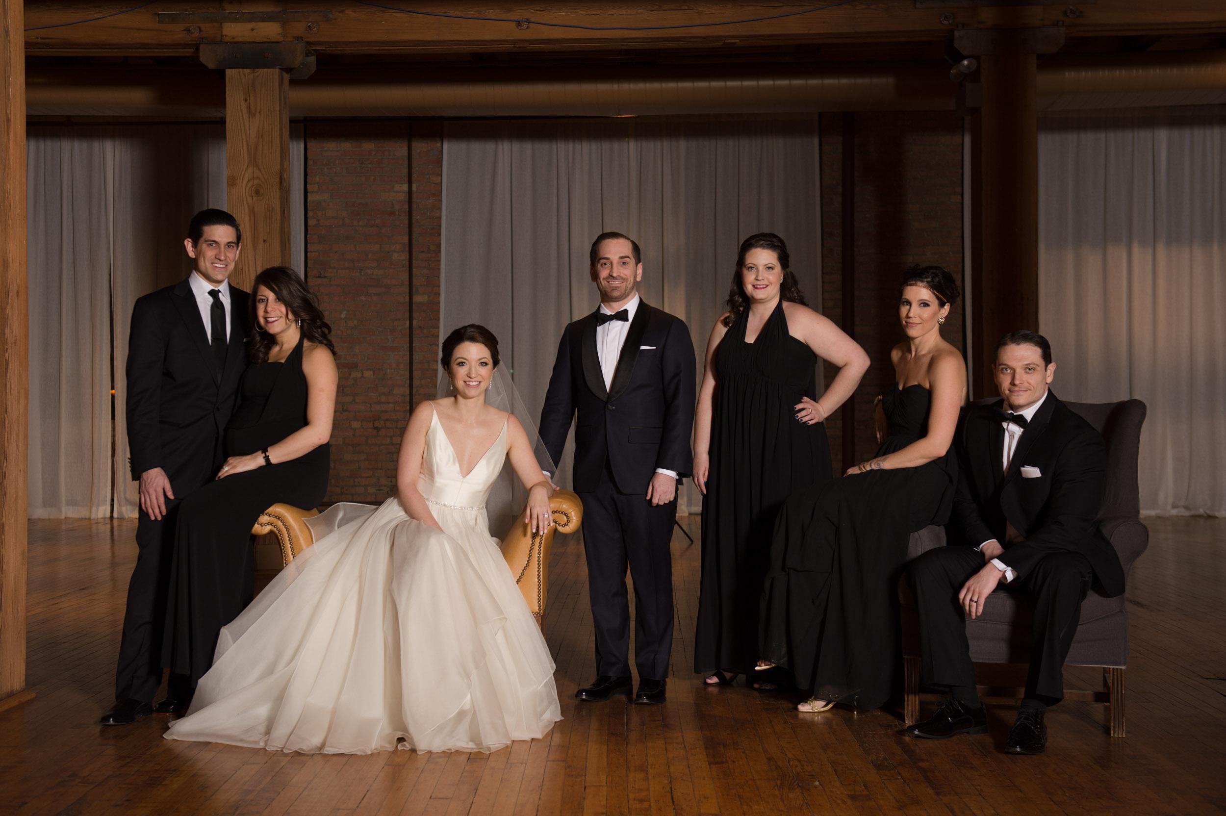 Editorial wedding party portrait at Bridgeport Art Center