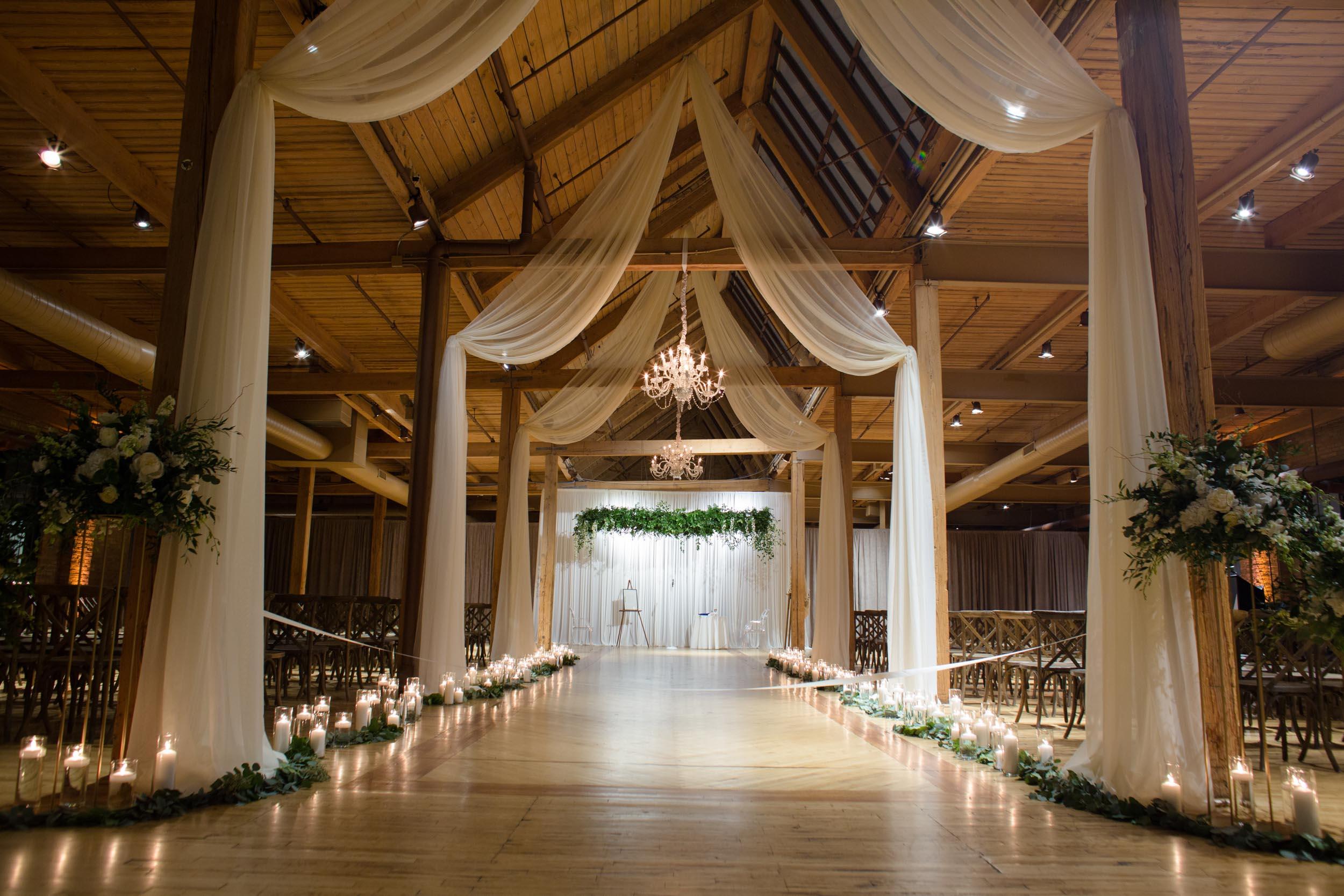 Winter wedding ceremony decor at Bridgeport Art Center