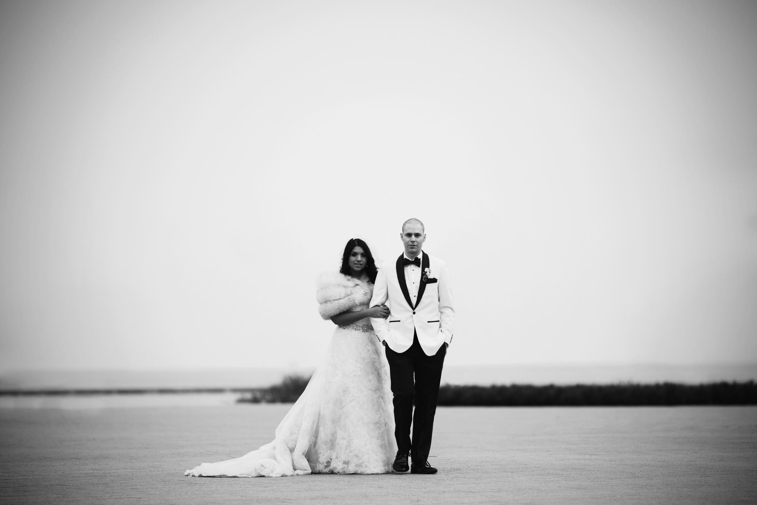 Wedding portrait by Lake Michigan in Chicago