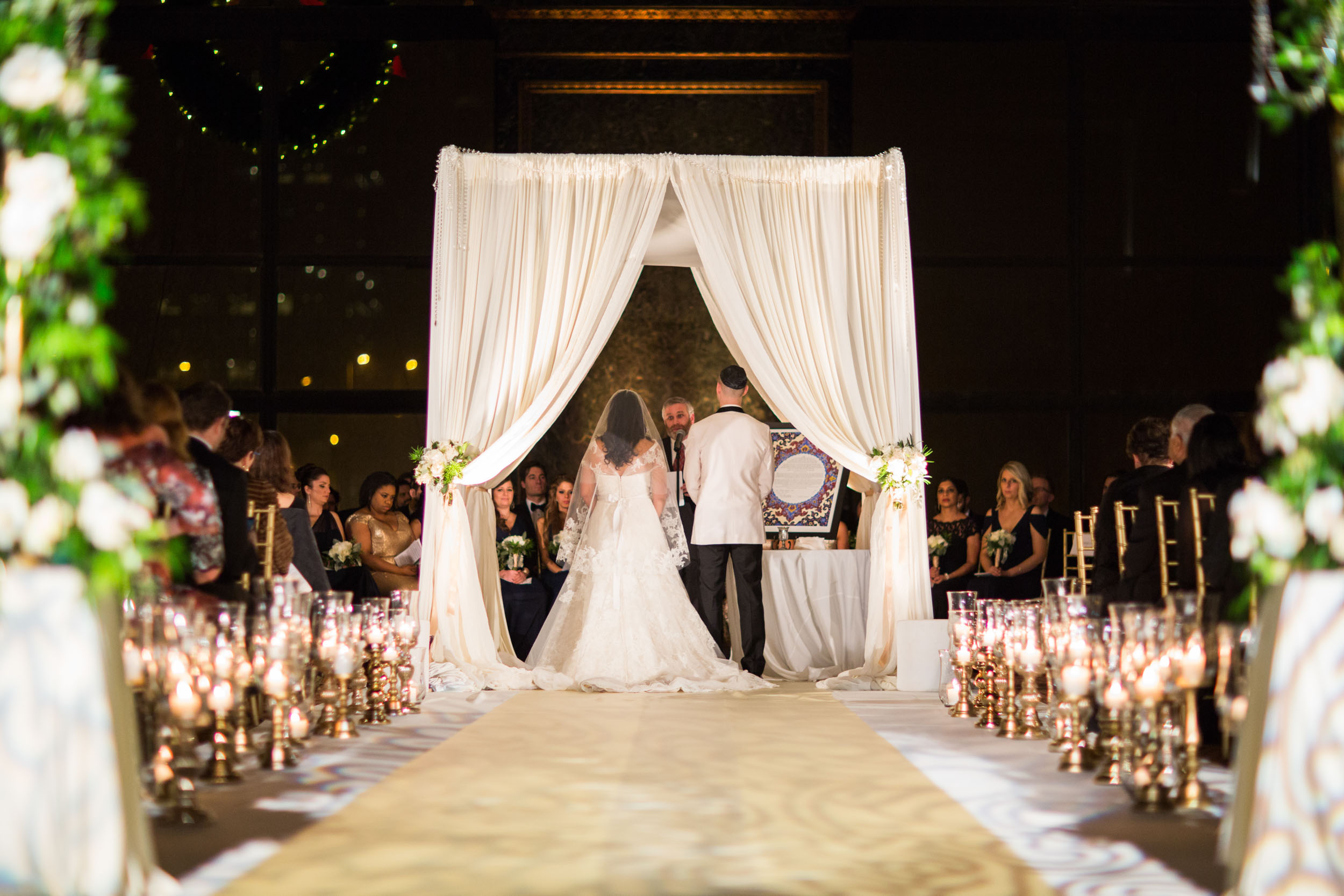 Winter wedding ceremony at Chicago Cultural Center