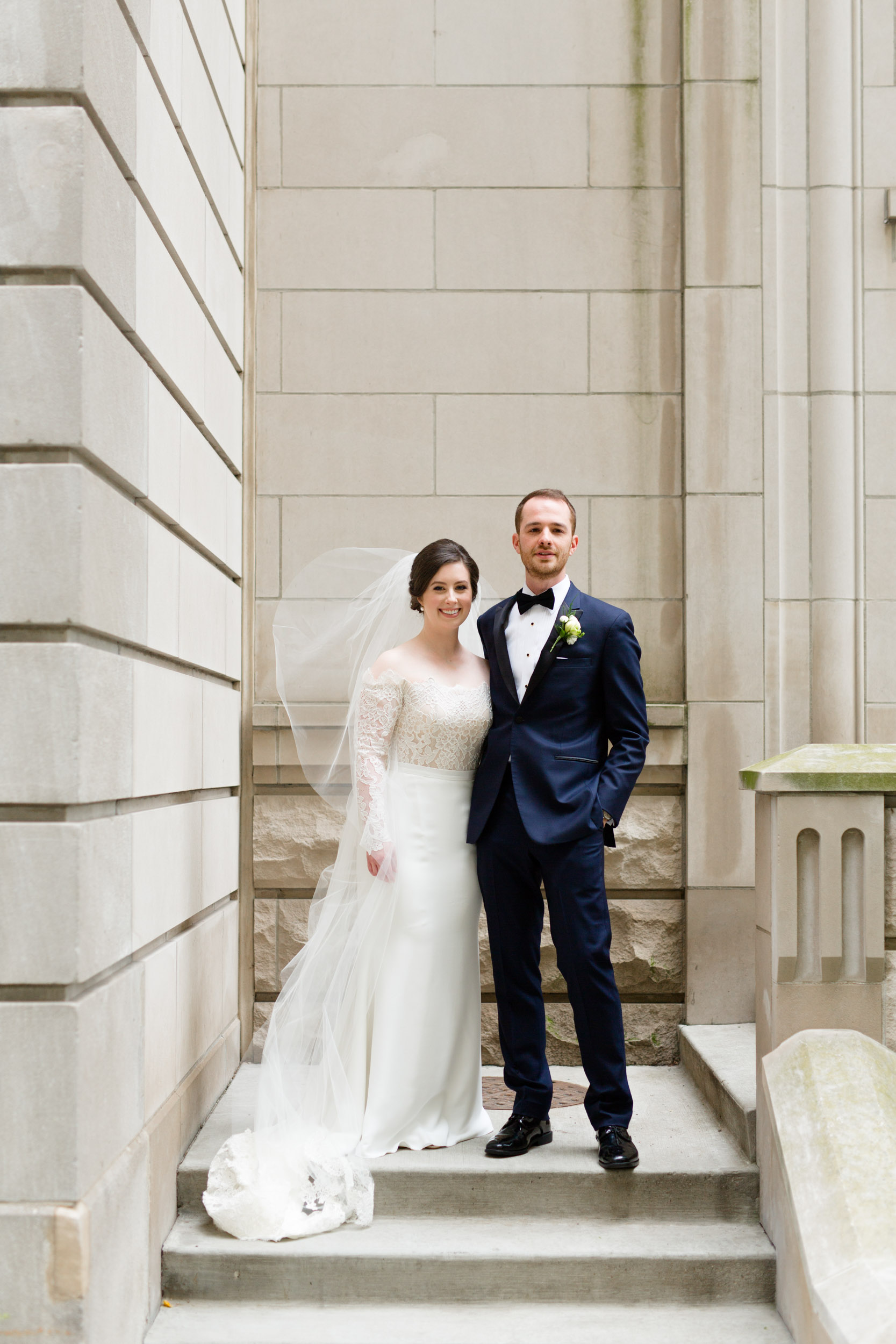 Bride and groom on wedding day in Chicago