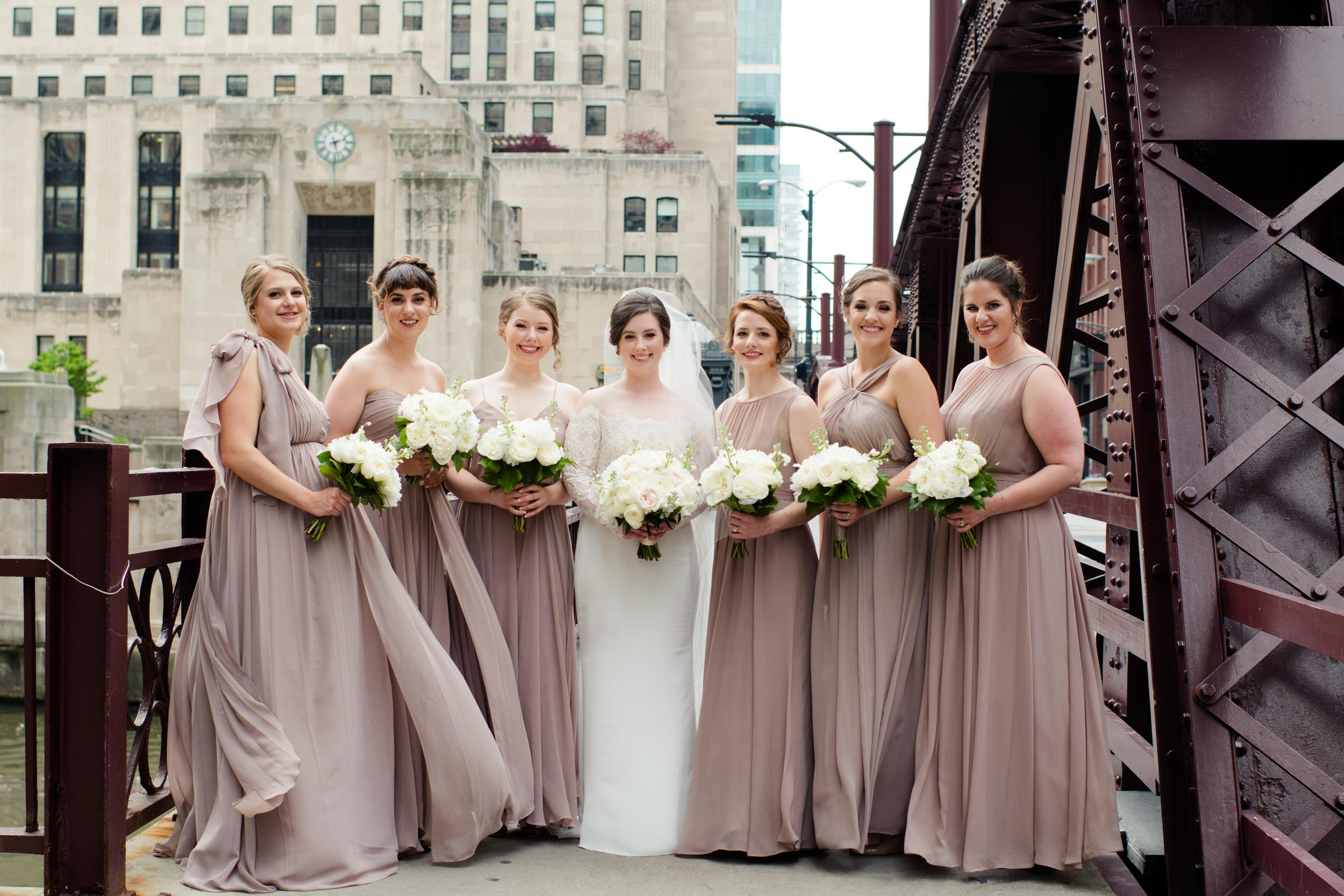 Mismatched rose champagne blush bridesmaids dresses Chicago