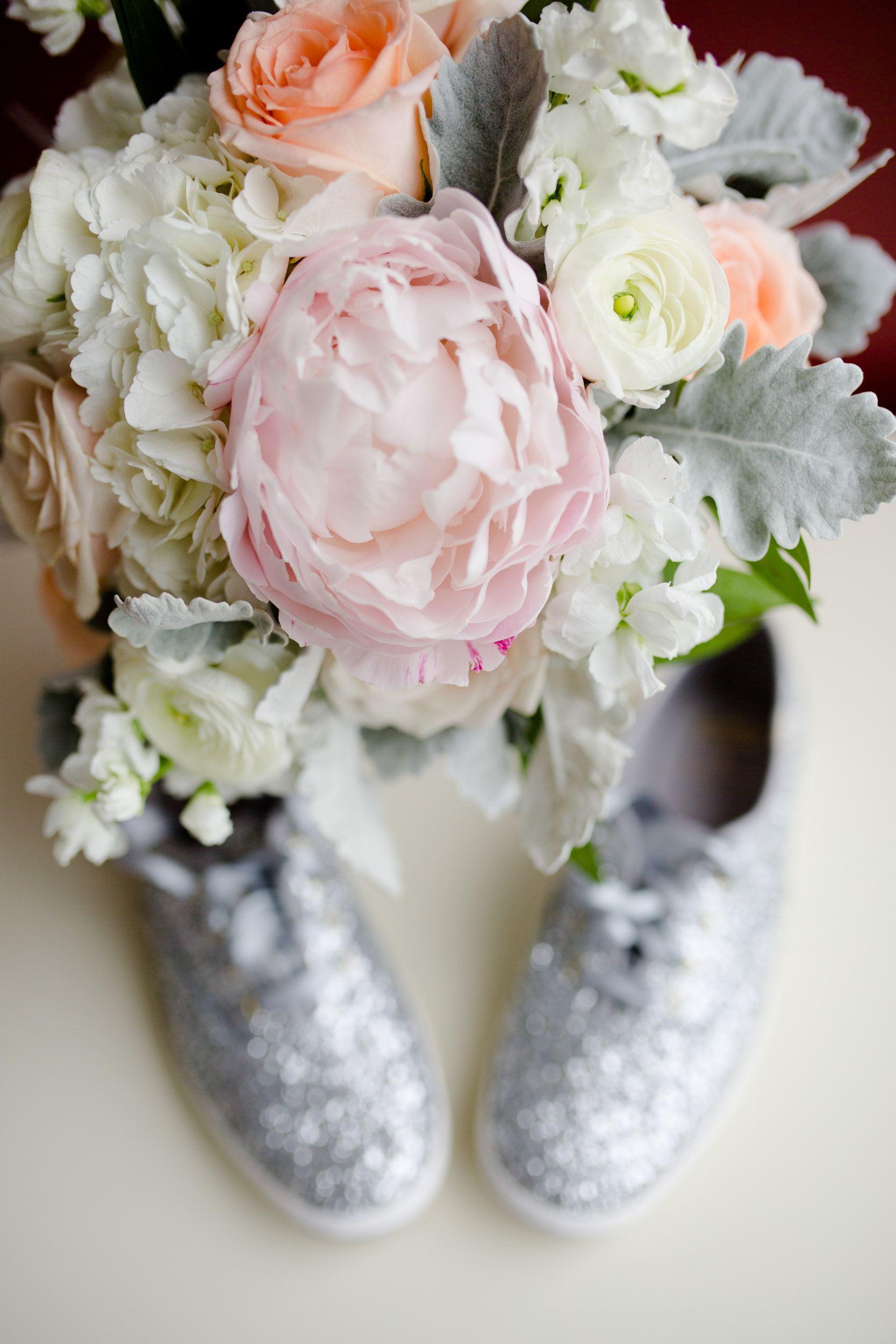 Wedding bouquet and shoes for Art Institute of Chicago ceremony and reception.