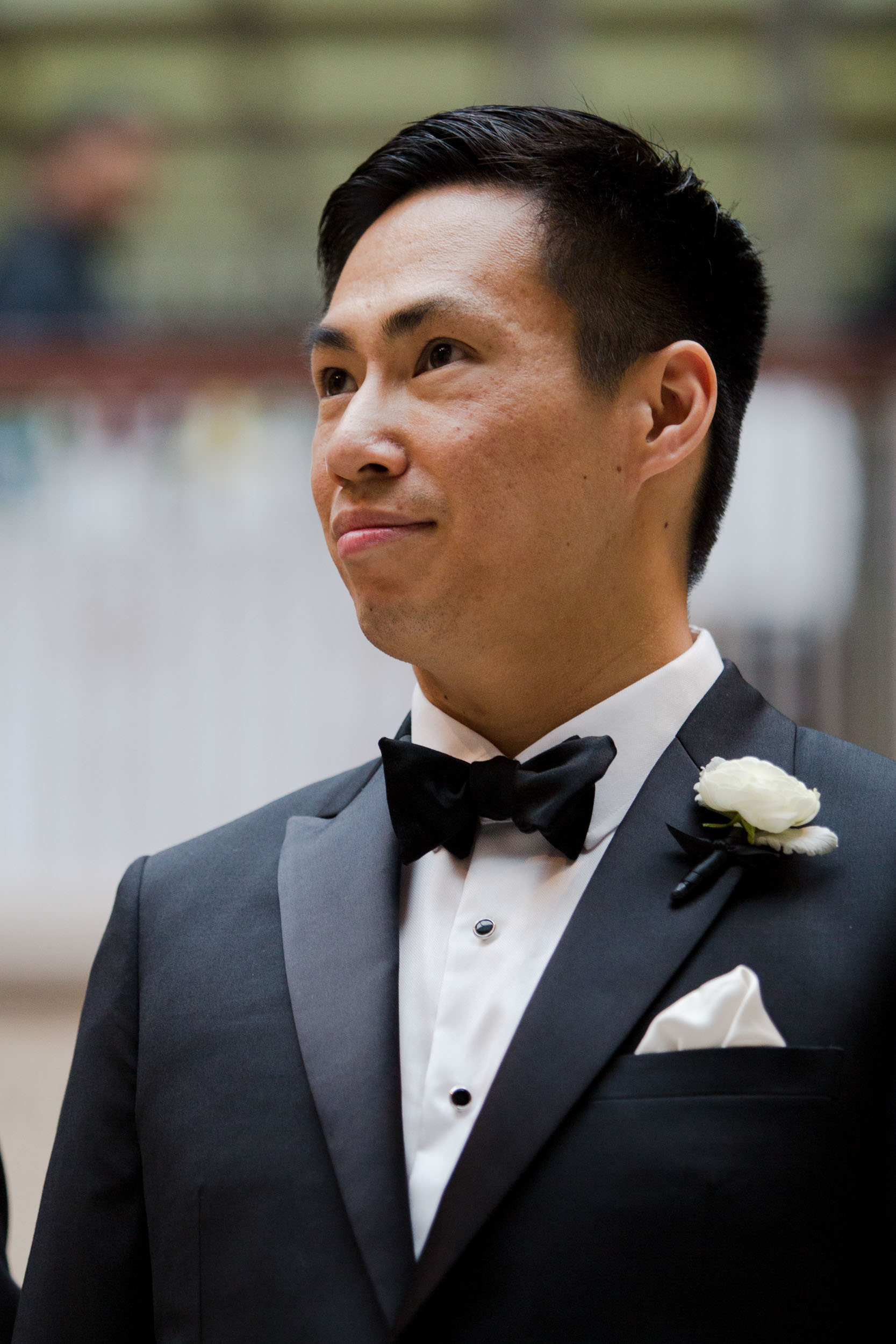 Groom at wedding ceremony on the Grand Staircase Art Institute of Chicago
