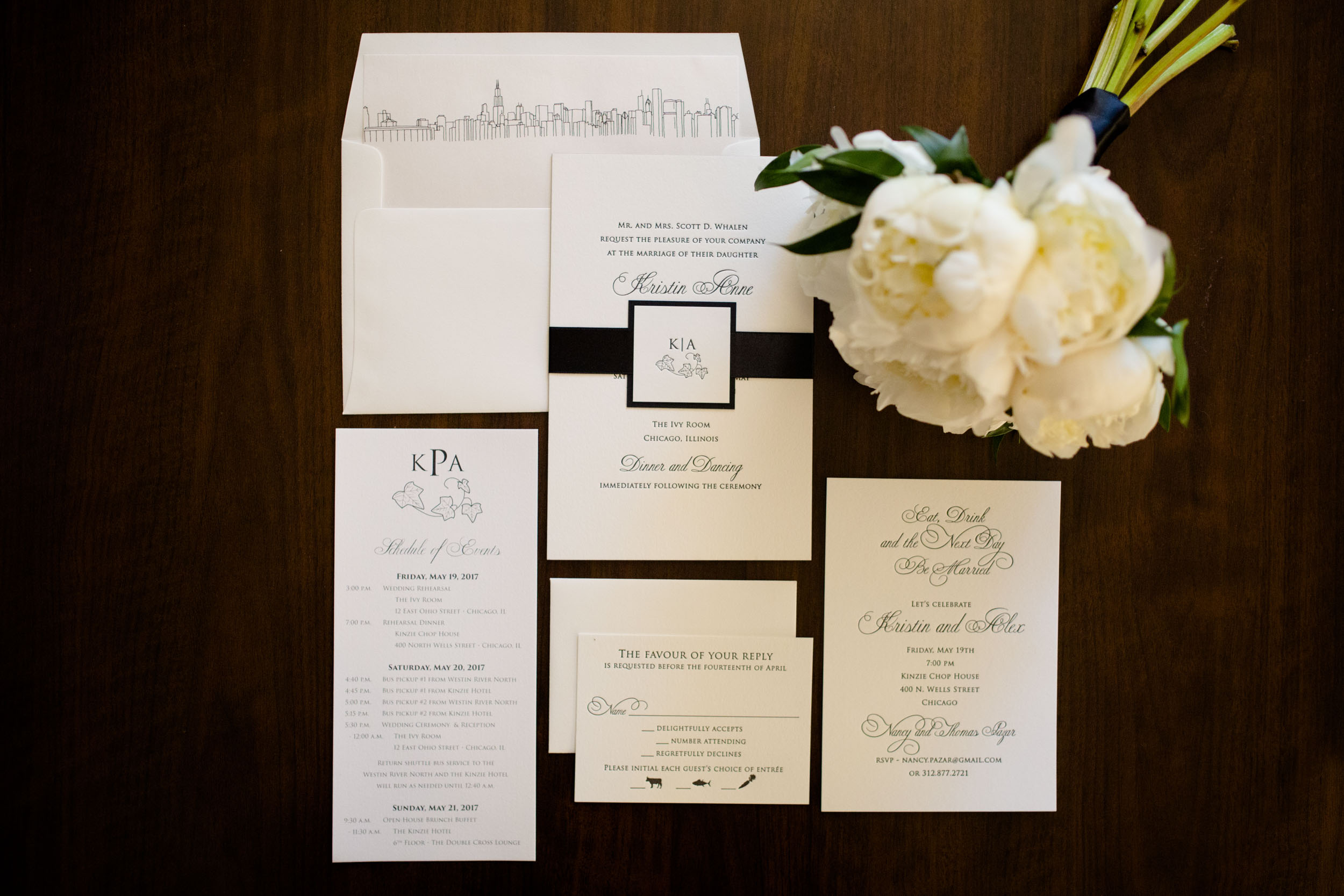 Black and white invitation suite for Ivy Room Wedding in Chicago