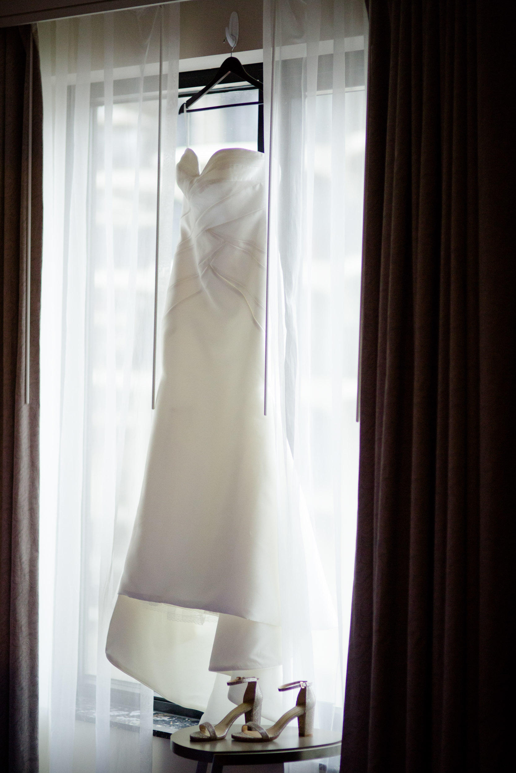 Wedding gown at Westin Chicago Hotel before wedding at Ivy Room.