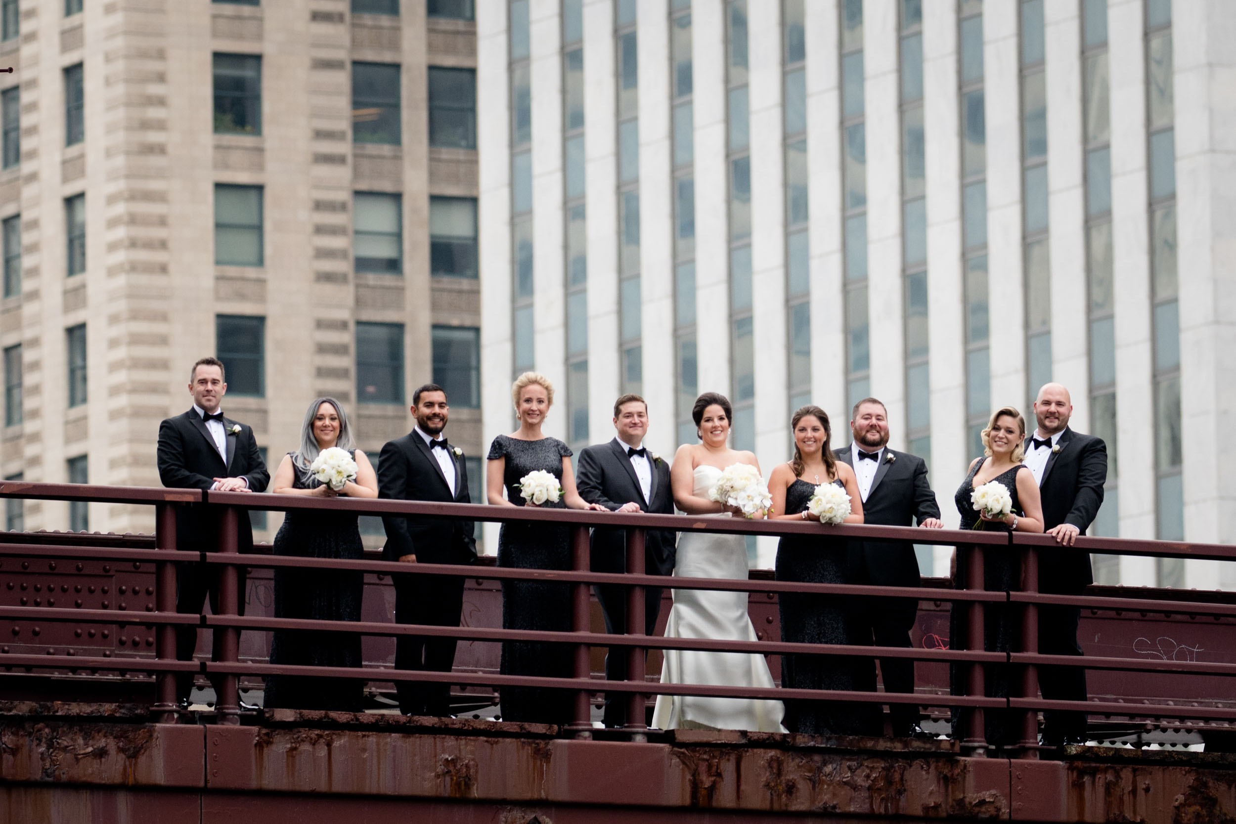 Wedding party on the bridges in Downtown Chicago