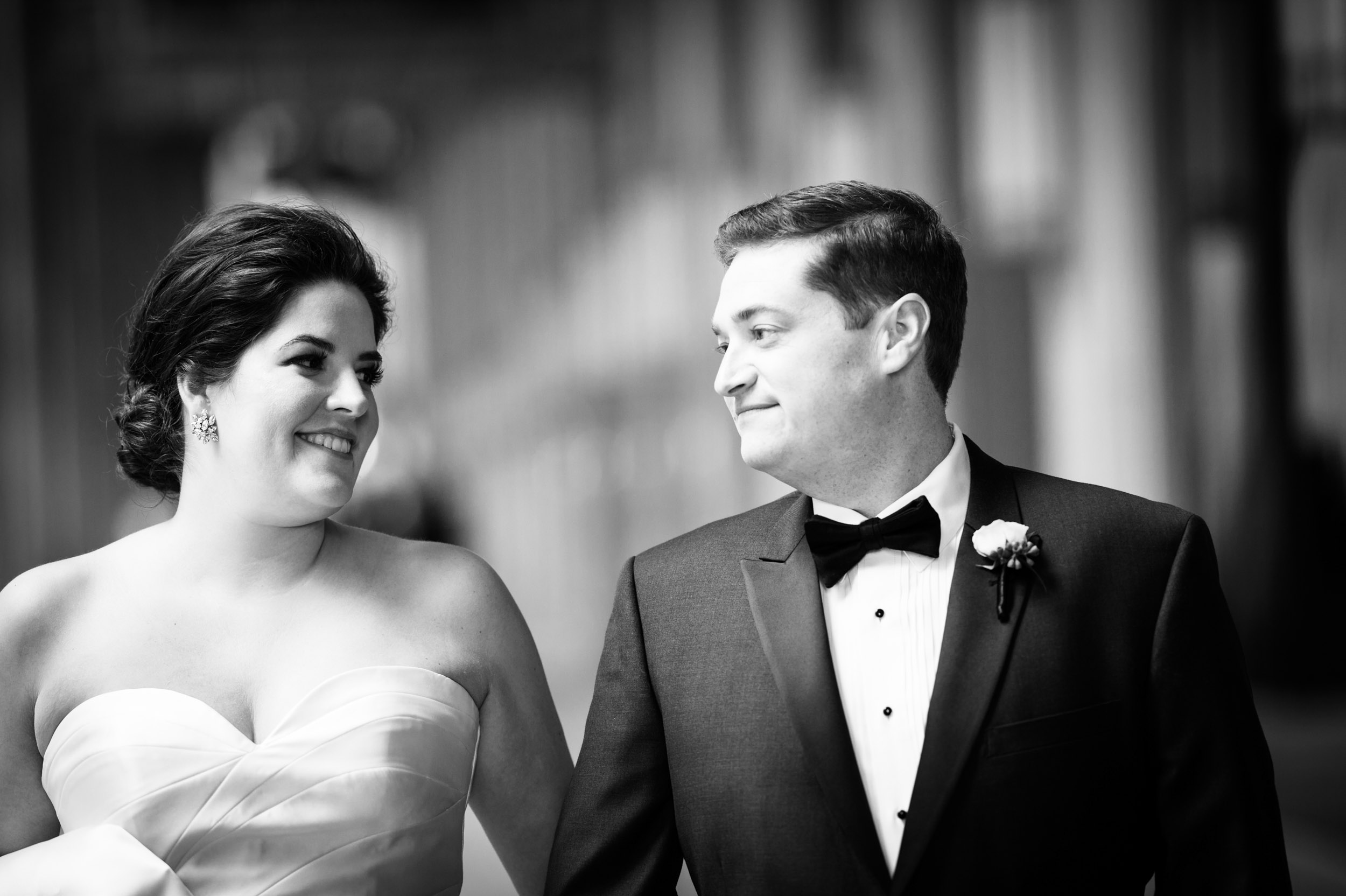 Bride and groom at Lyric Opera in Chicago