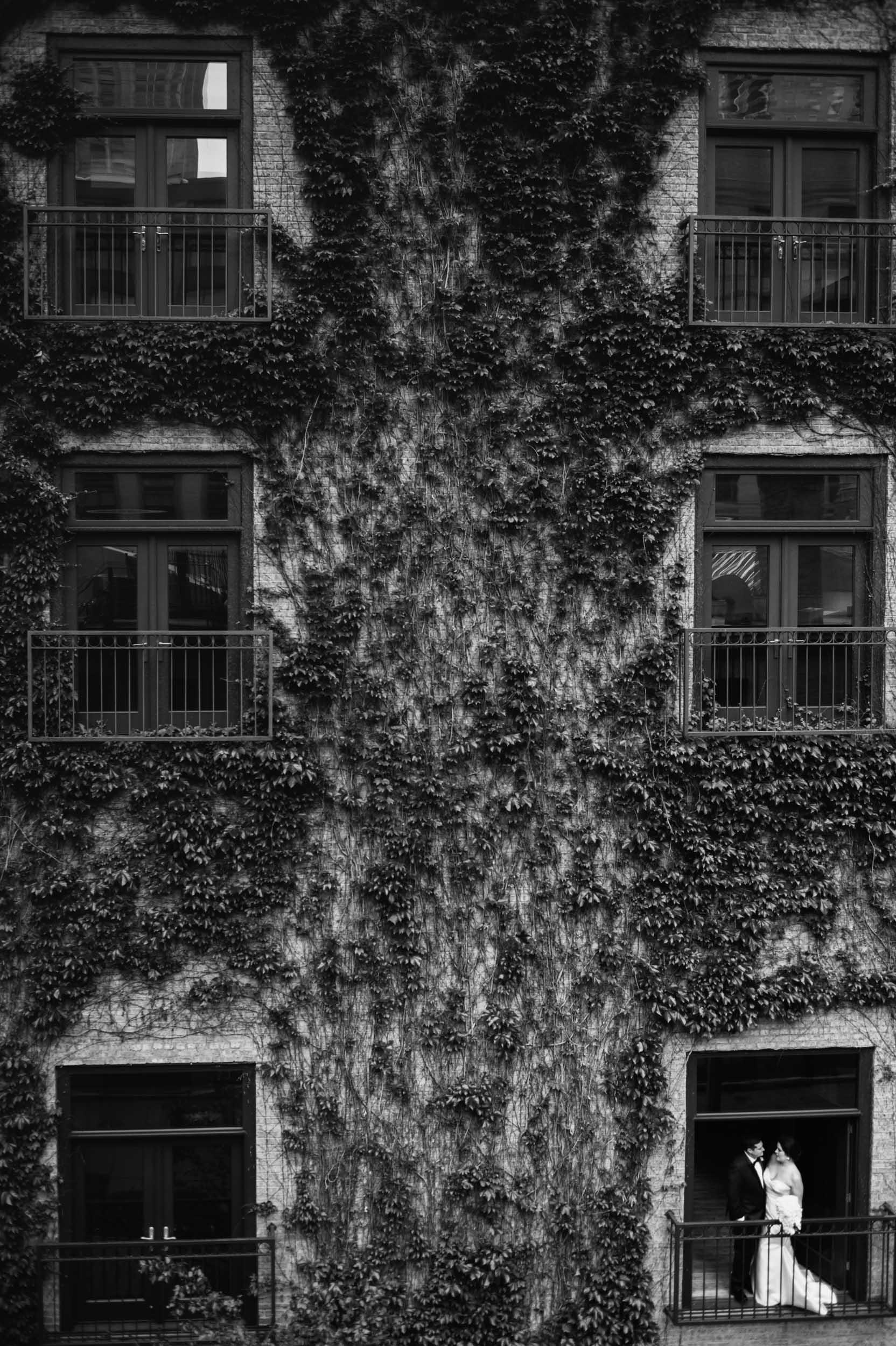 Black and white ivy room wedding portraits