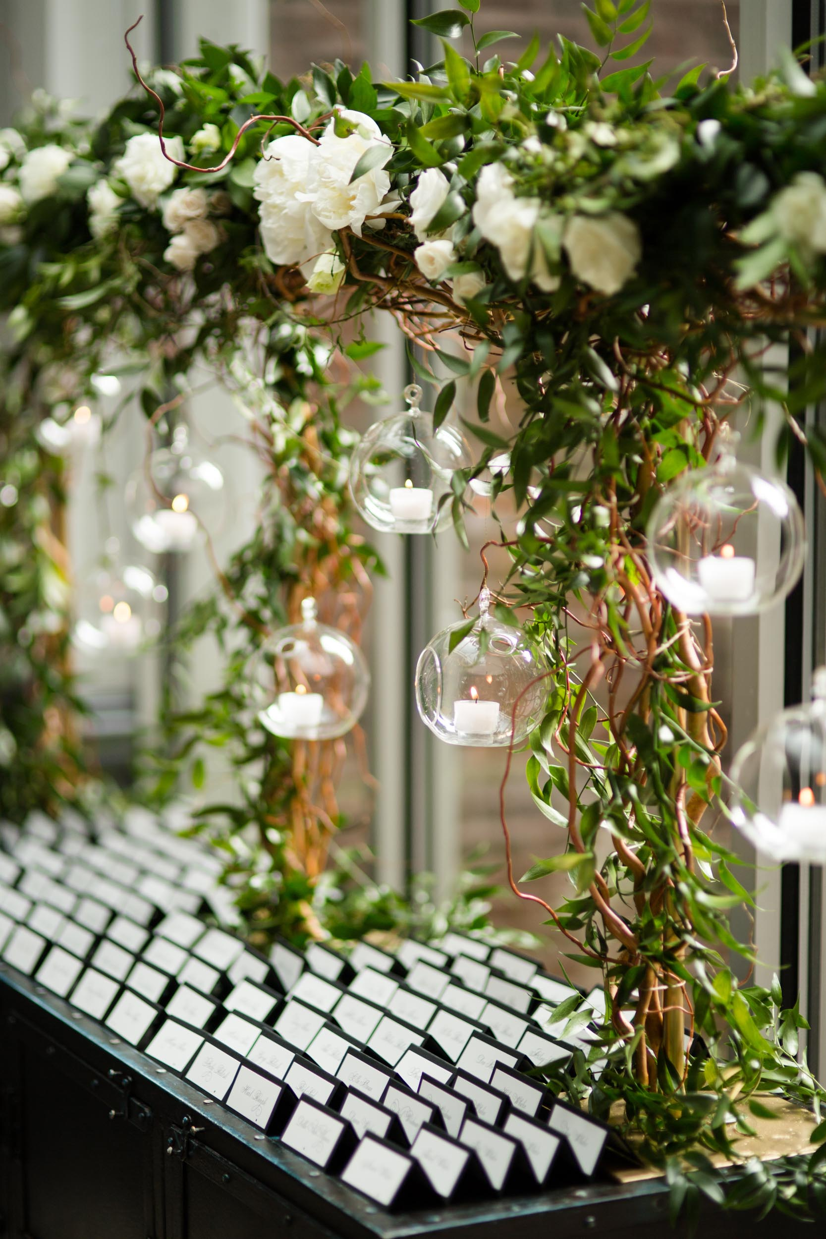 Organic green + white Ivy Room Chicago wedding decor.