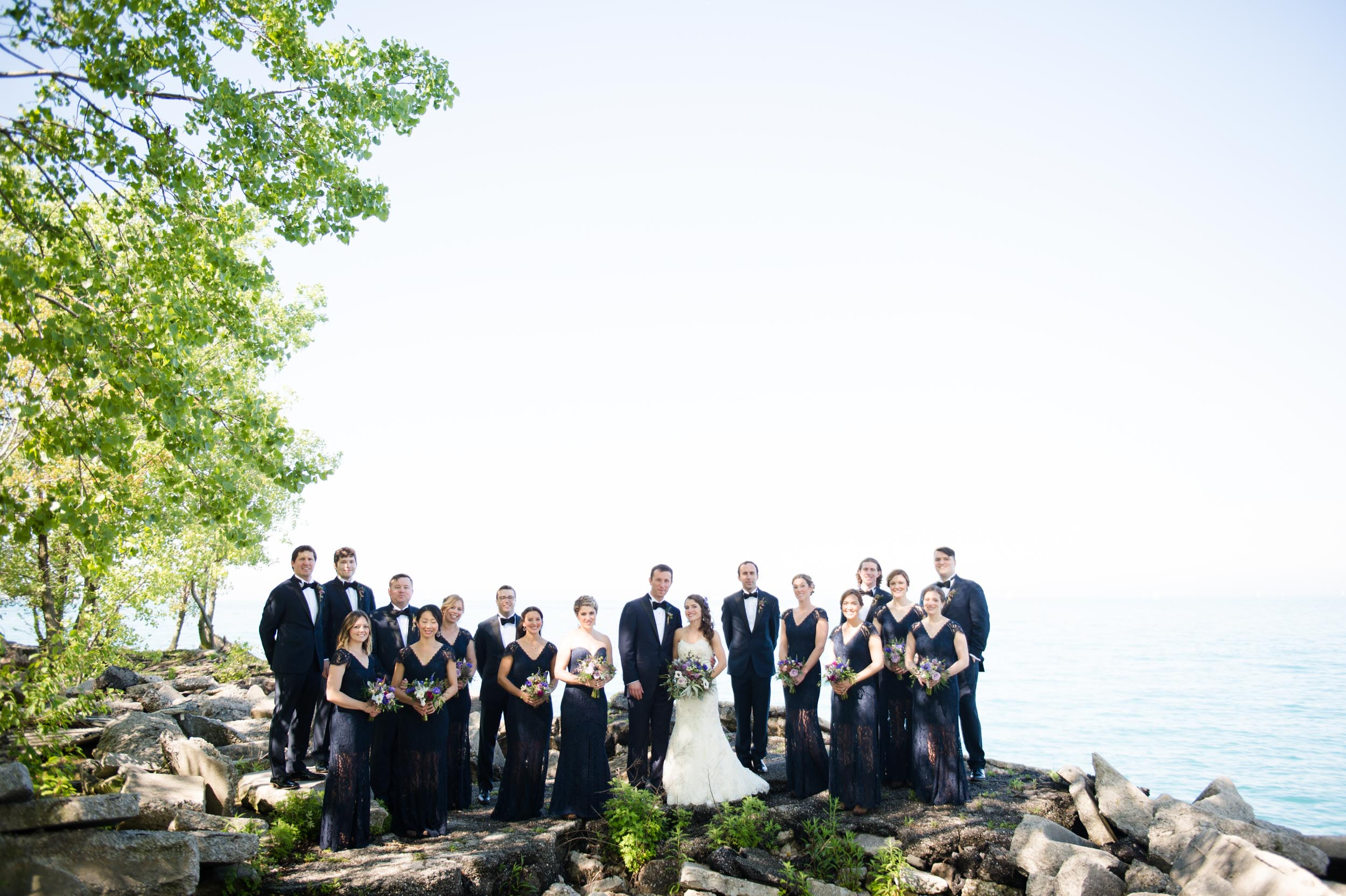 Wedding party photos on Northerly Island, Chicago