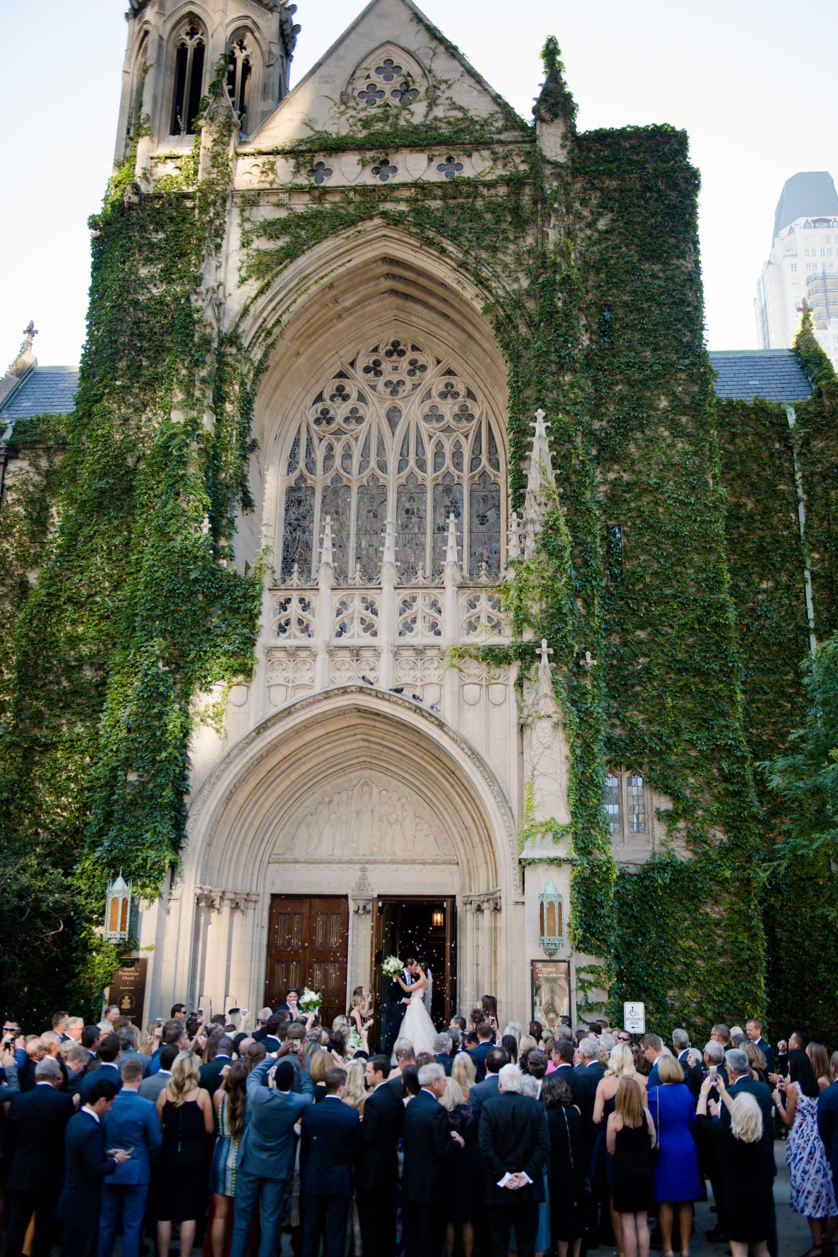 Nancy crossed the street to photograph the bride and groom's exit from the church.