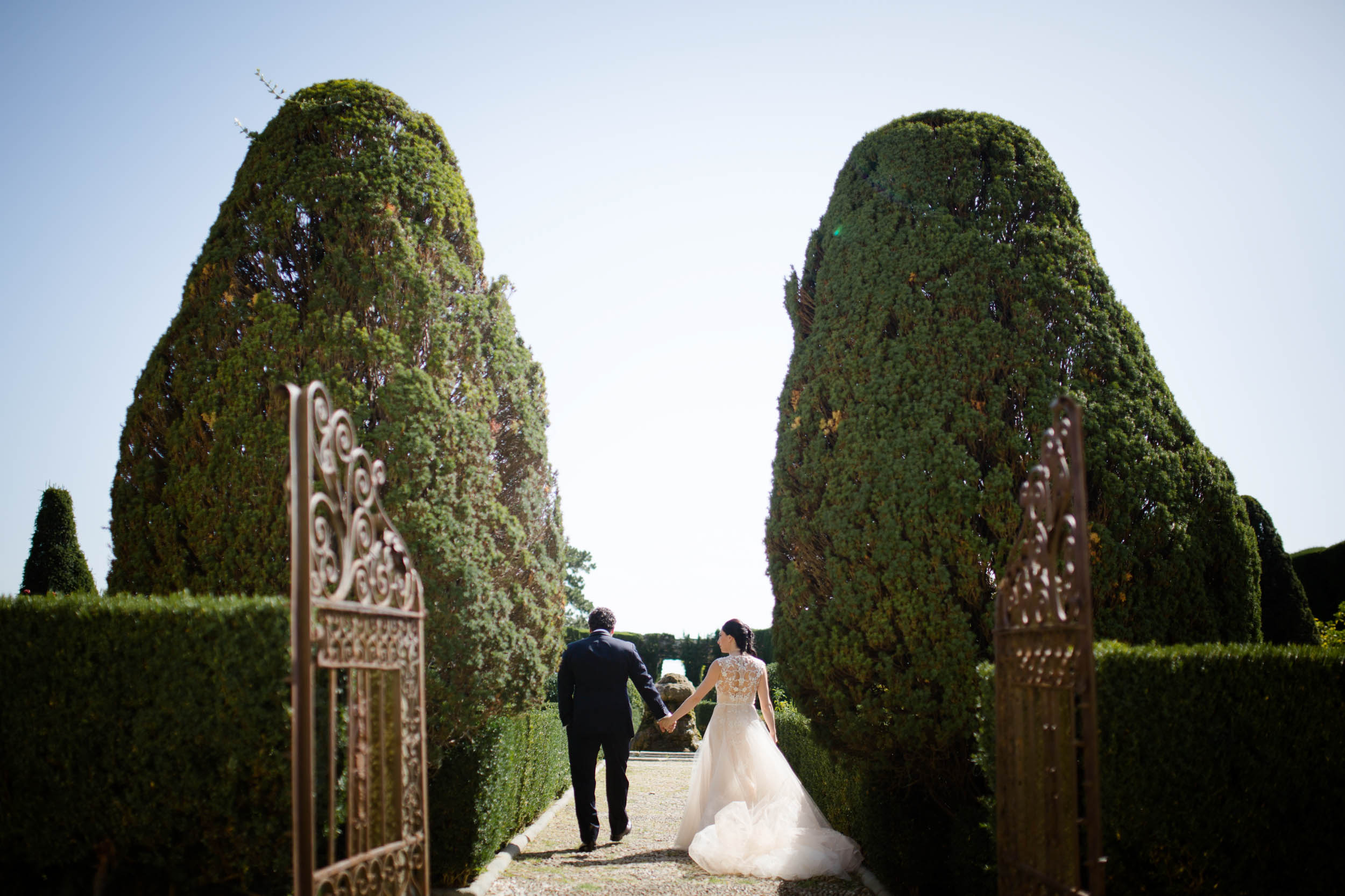 The gardens at this Florence villa provided a stunning backdrop for bridal portraits on the wedding day.