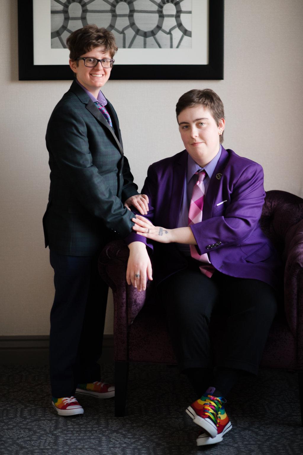 Non Binary couple on the wedding celebration day