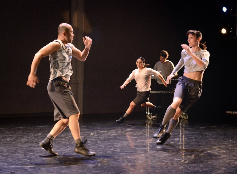 TDT company dancers Yuichiro Inoue, Noelle Young and Erin Poole with composer Thom Gill in MARTINGALES, one of four short pieces in ANIMATED. Photo by Guntar Kravis, 2016.