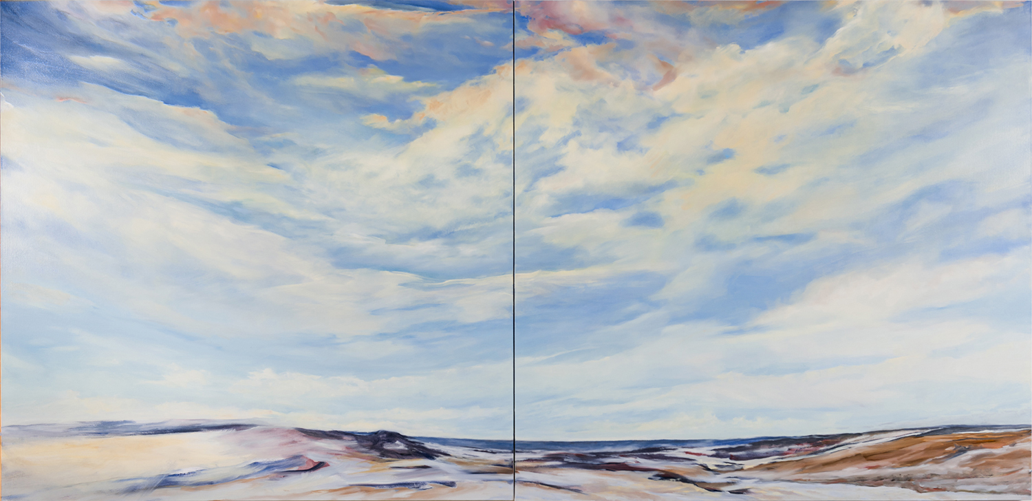 This is the version that appears on this website in the Winter Gallery. Below is how I've reworked it today. I painted out the hard edged horizon line and am reworking the lower left corner. More to do!