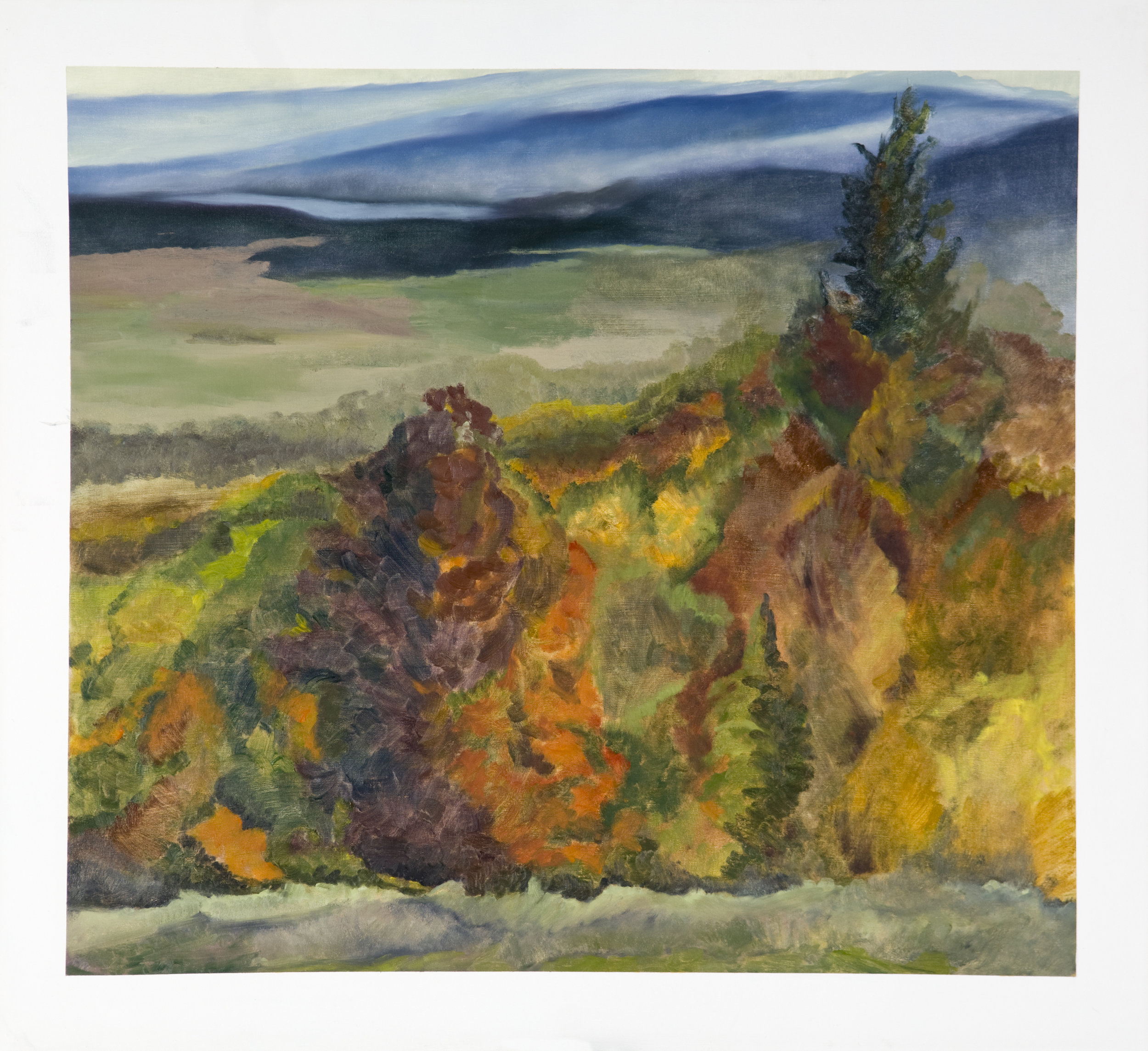 Keswick Autumn , 1996, Oil on Canvas, 38 x 40 inches (McCain Foods Corporate Collection)