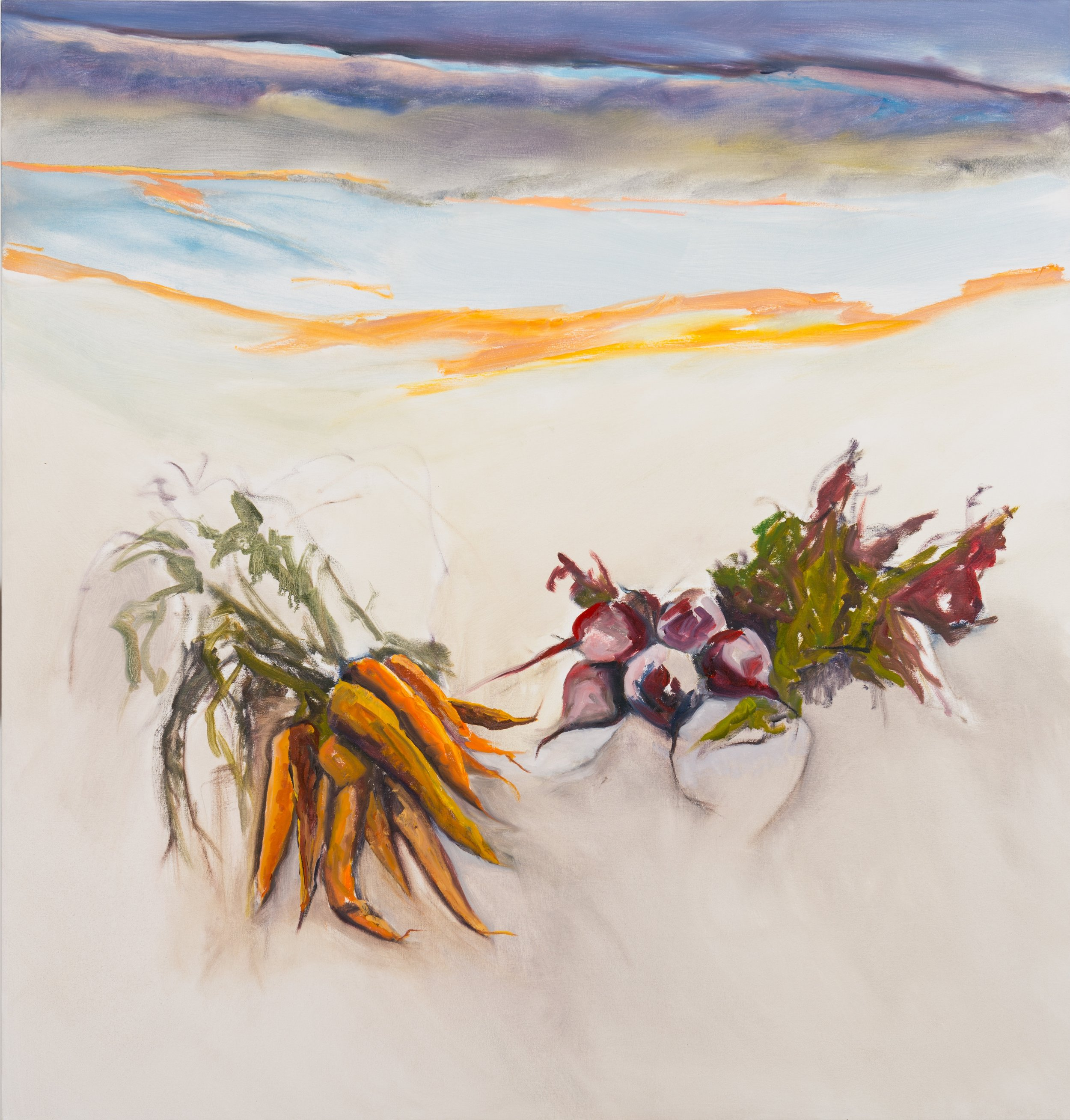 Mela's Carrots & Beets , 2013, Oil on Canvas, 54 x 52 inches