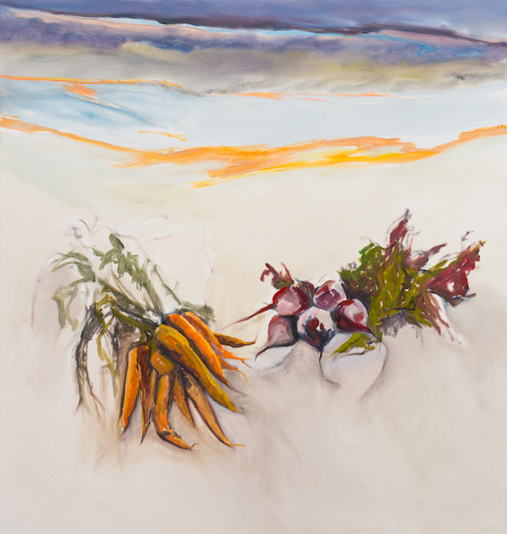 Mela's Carrots & Beets , 54 x 53 inches, Oil on canvas