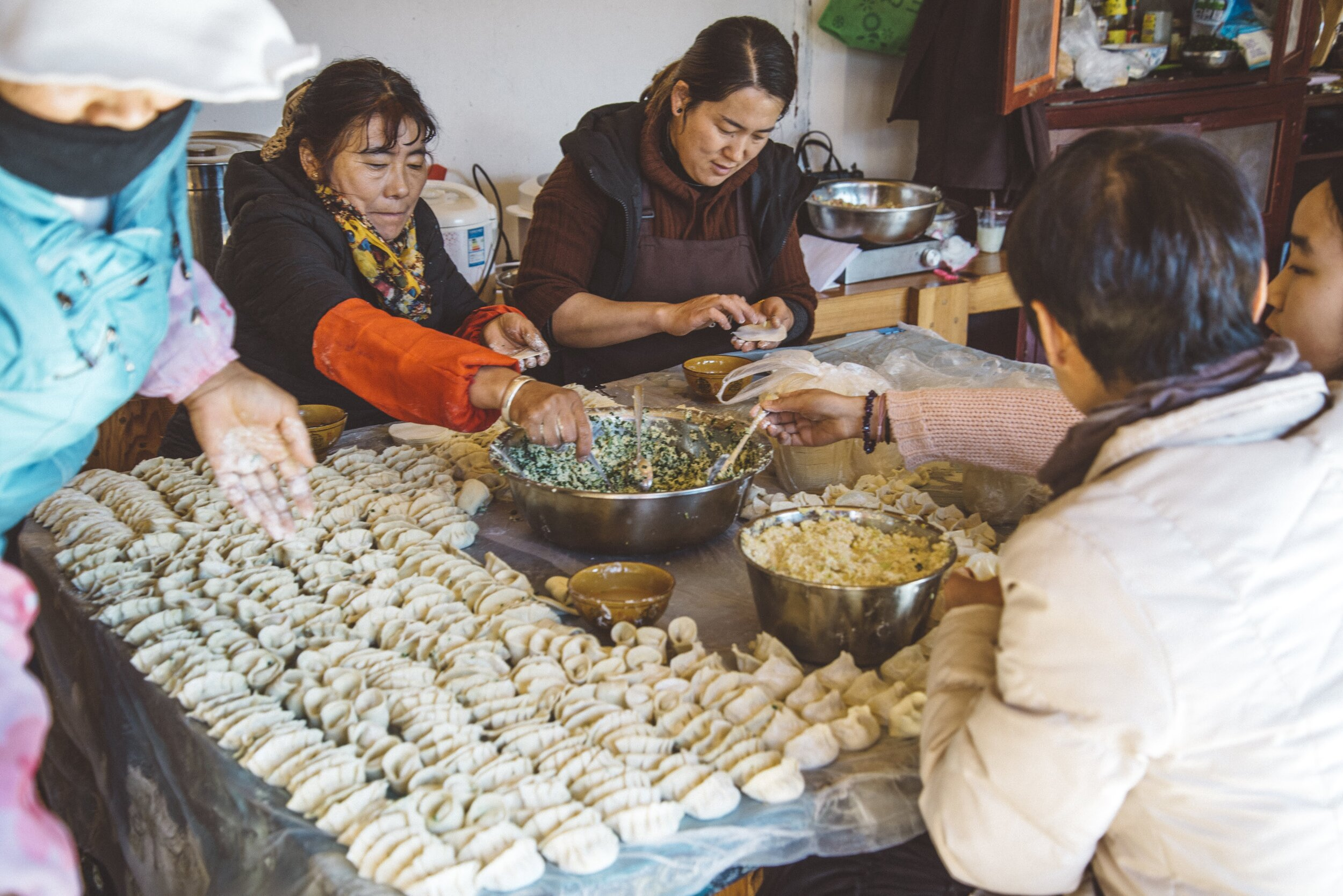Dumplings being made in Yunnan Province, China