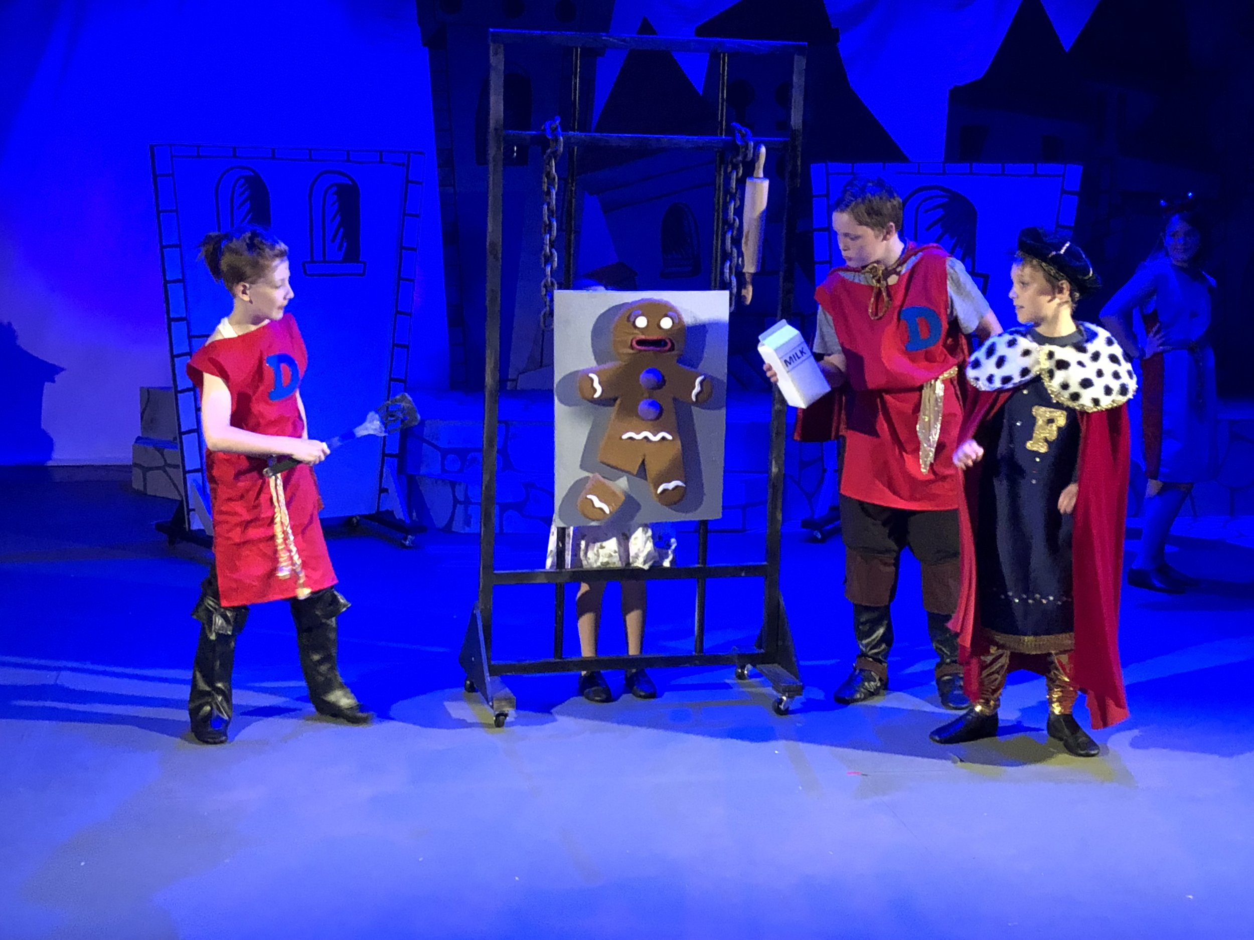 "My Production of Shrek Jr. at TexArts Summer of 2018. This is the interrogation scene of ""Gingy"" by Lord Farquaad and his henchman. I'm proud to say that I made the Gingy Puppet all by myself- NOT an easy task!"