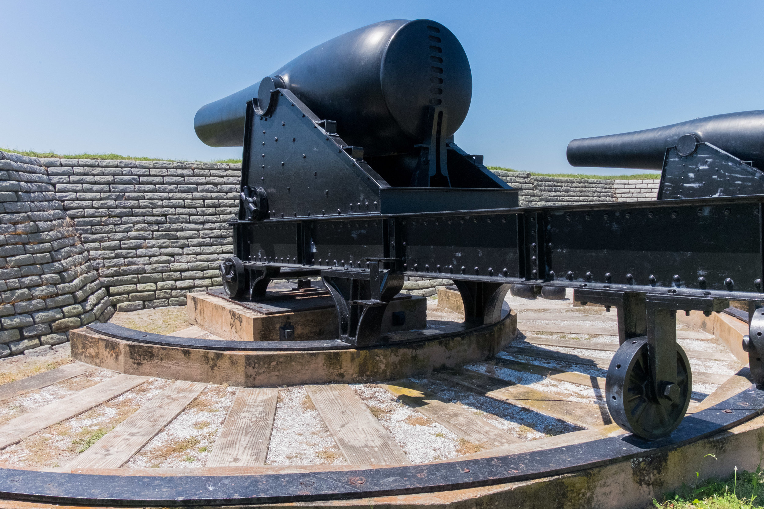 Fort Moultrie in part of the Fort Sumter National Monument in Charlestown, SC. This fort was where South Carolina gets the nickname Palmetto State. This fort is the only place to follow the entire history of seacoast defense can be traced starting in 1776 until it closed in 1947.