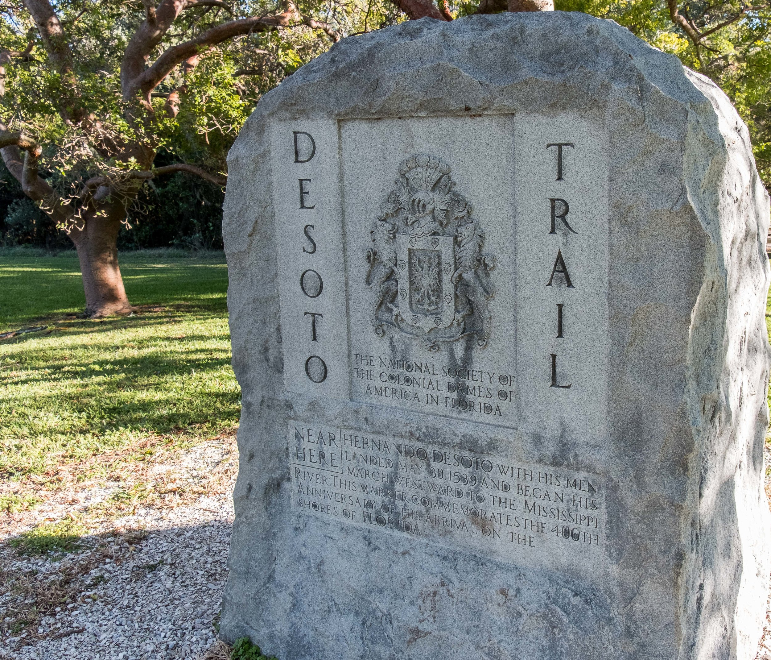 Here is another Florida stone this one to honor a Spanish explorer, De Soto.