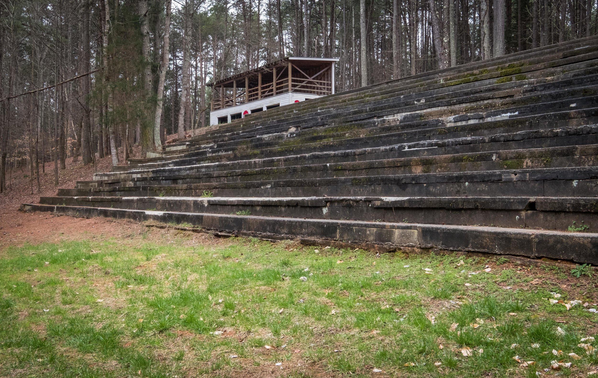 Concrete grandstands and refreshment stand