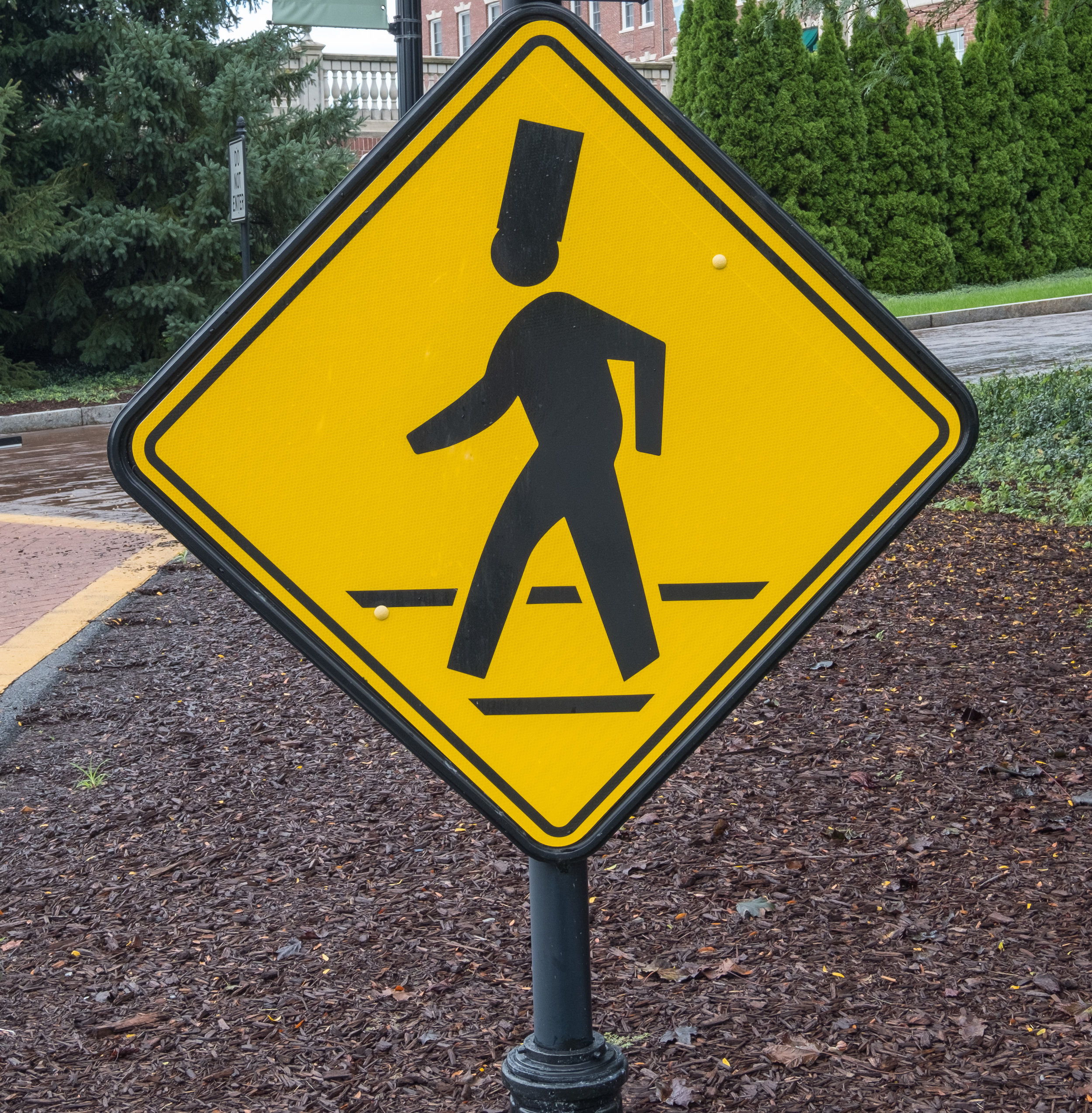You have to smile at the student crossing signs.