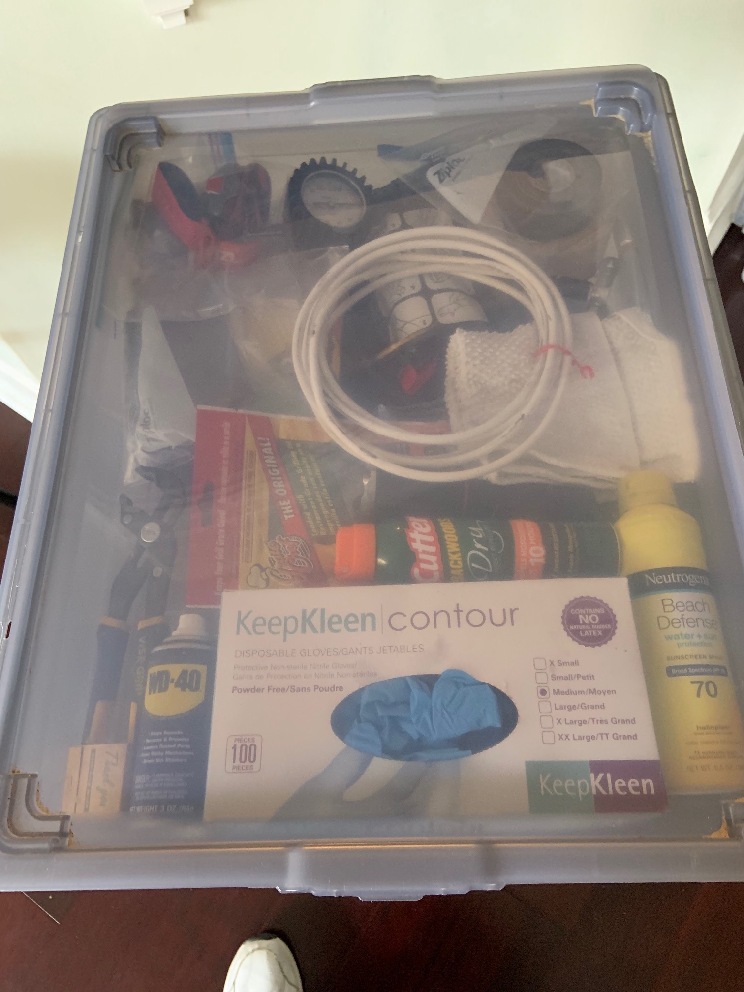 First box nearly done, two things are here temporarily and a couple are missing. We do have extensive check lists to keep track. This is the shallow box that slides in a frame and is under the water hose, power cord, filter and electric surge protector.