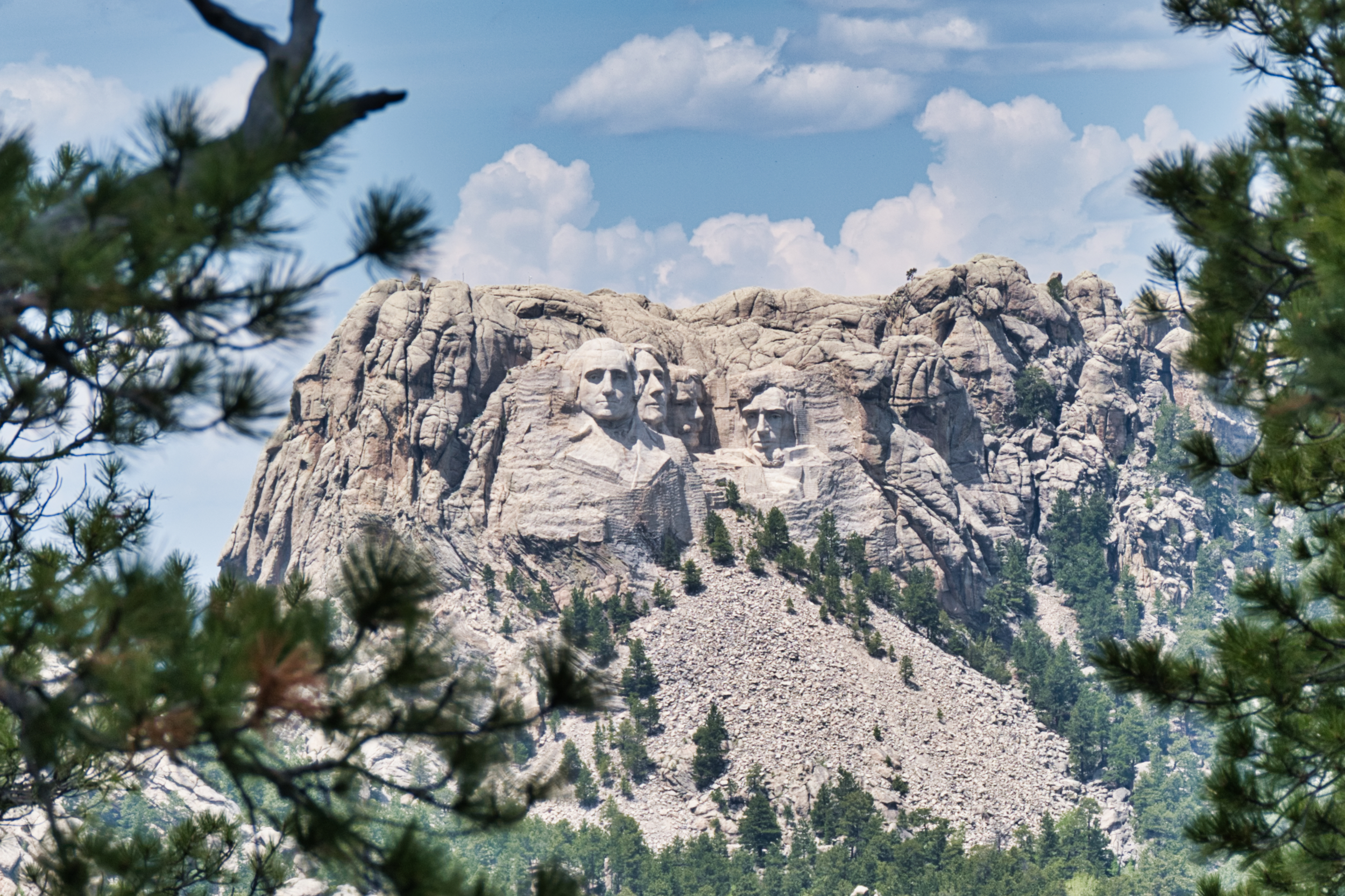 The Heads framed by the pines on Iron Mountain Road