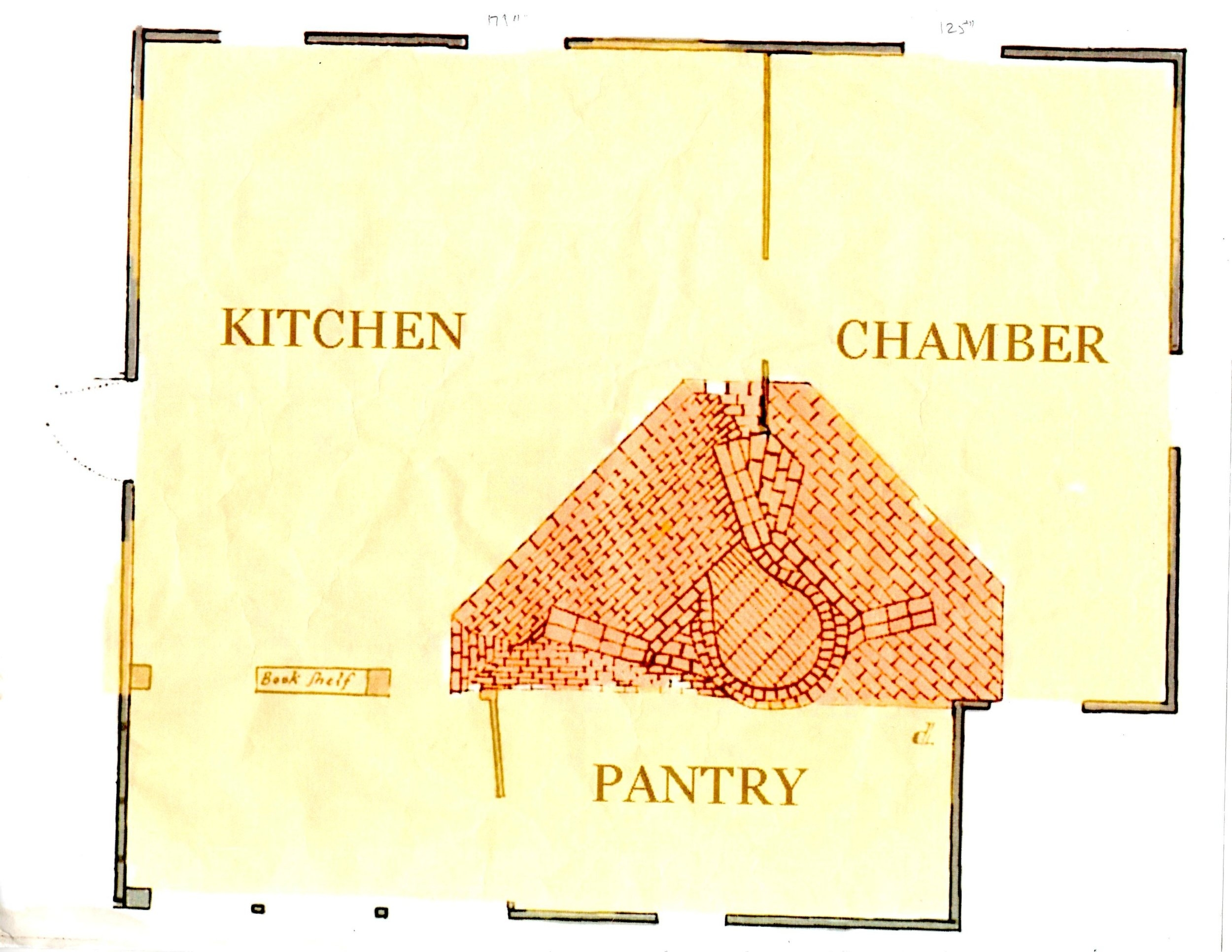 While there are no surviving images of the First House, this is the floor plan.