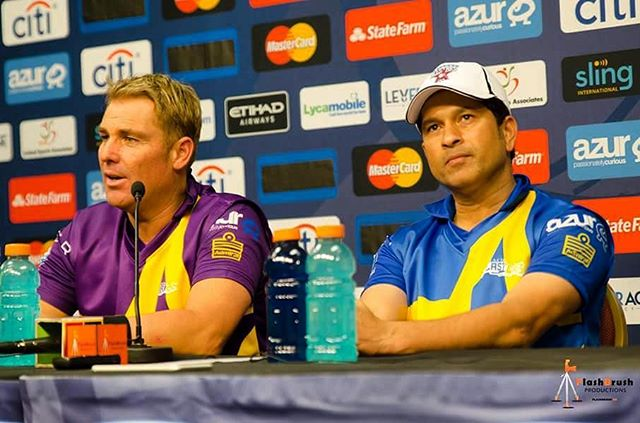 The cricketing legends in one frame. Wow just wow #cricket #sachintendulkar #shanewarne #allstarscricket #cricketinamerica