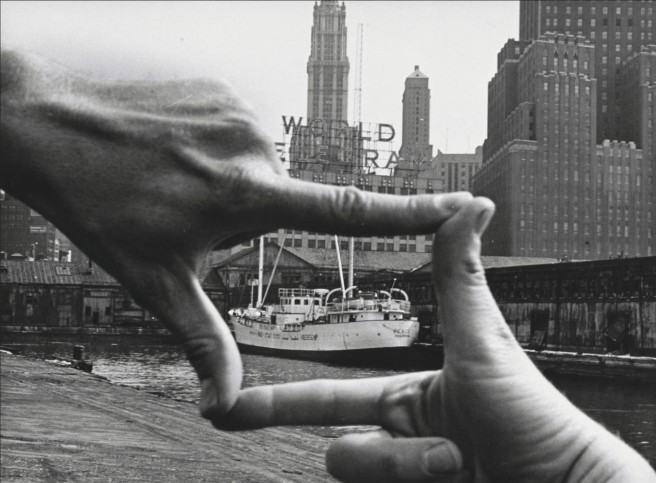 "John Baldessari ""Hands Framing New York Harbor"" 1971"