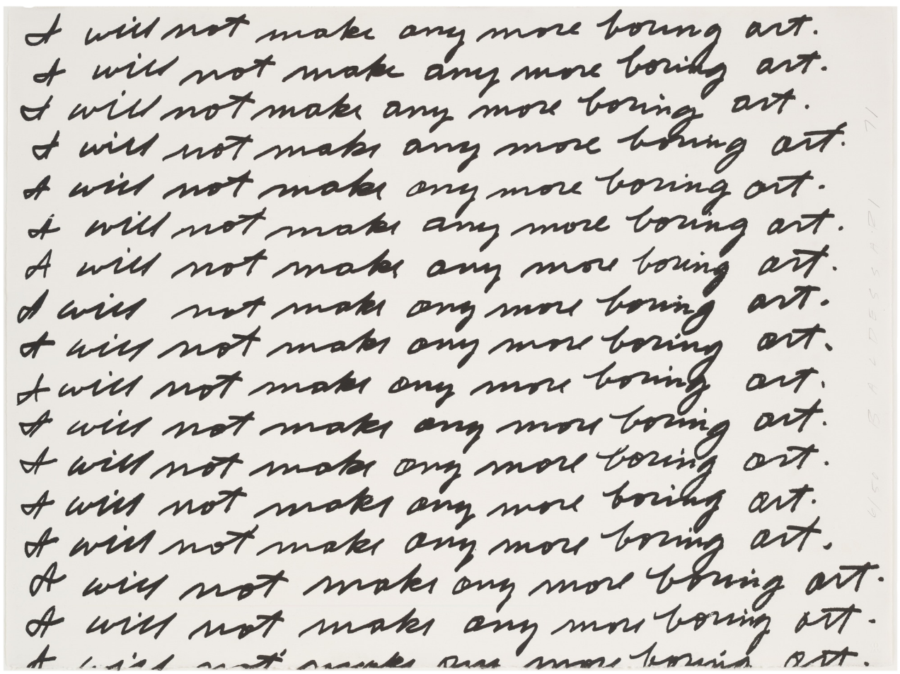 "John Baldessari ""I will not make any more boring art"" 1971"