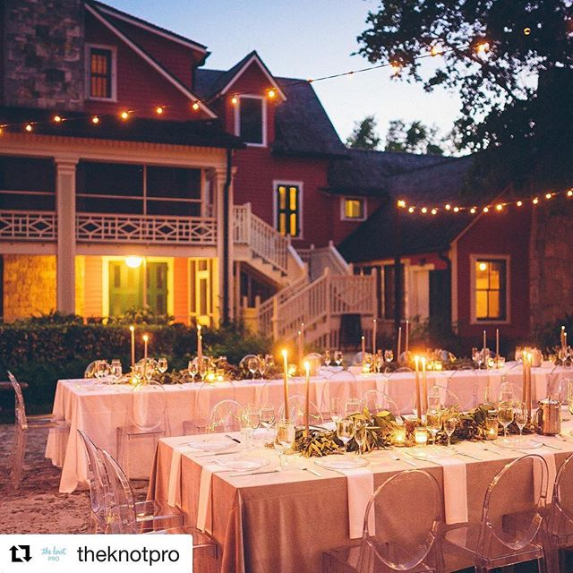 """#Repost @theknotpro with @get_repost ・・・ Happy #TakeoverTuesday! We have the talented Teresa of @simplycouturewed, the event planner and designer from The Knot Palm Beach Workshop taking over our IG account for the day. Teresa's pro tip for wedding designers? """"The lighting of an outdoor event sets the ambiance and mood as guests are seated for dinner, especially an intimate reception for 100 that is comprised of full length royal tables and family style entrees"""" Check out our story for more from Teresa  throughout the day!  Venue: @deeringestate 