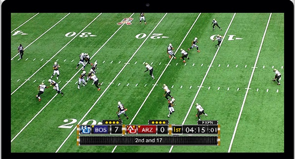 NewBlueFX Live Titler Broadcast with sports overlay and live video