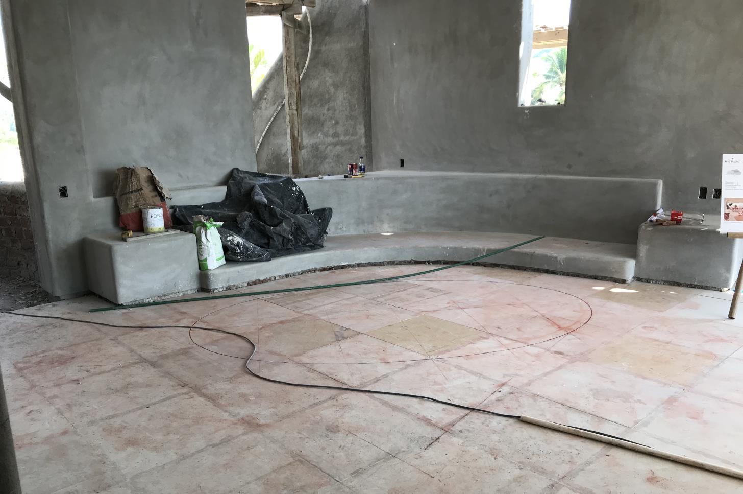 Trazo de tapete en area de estancia