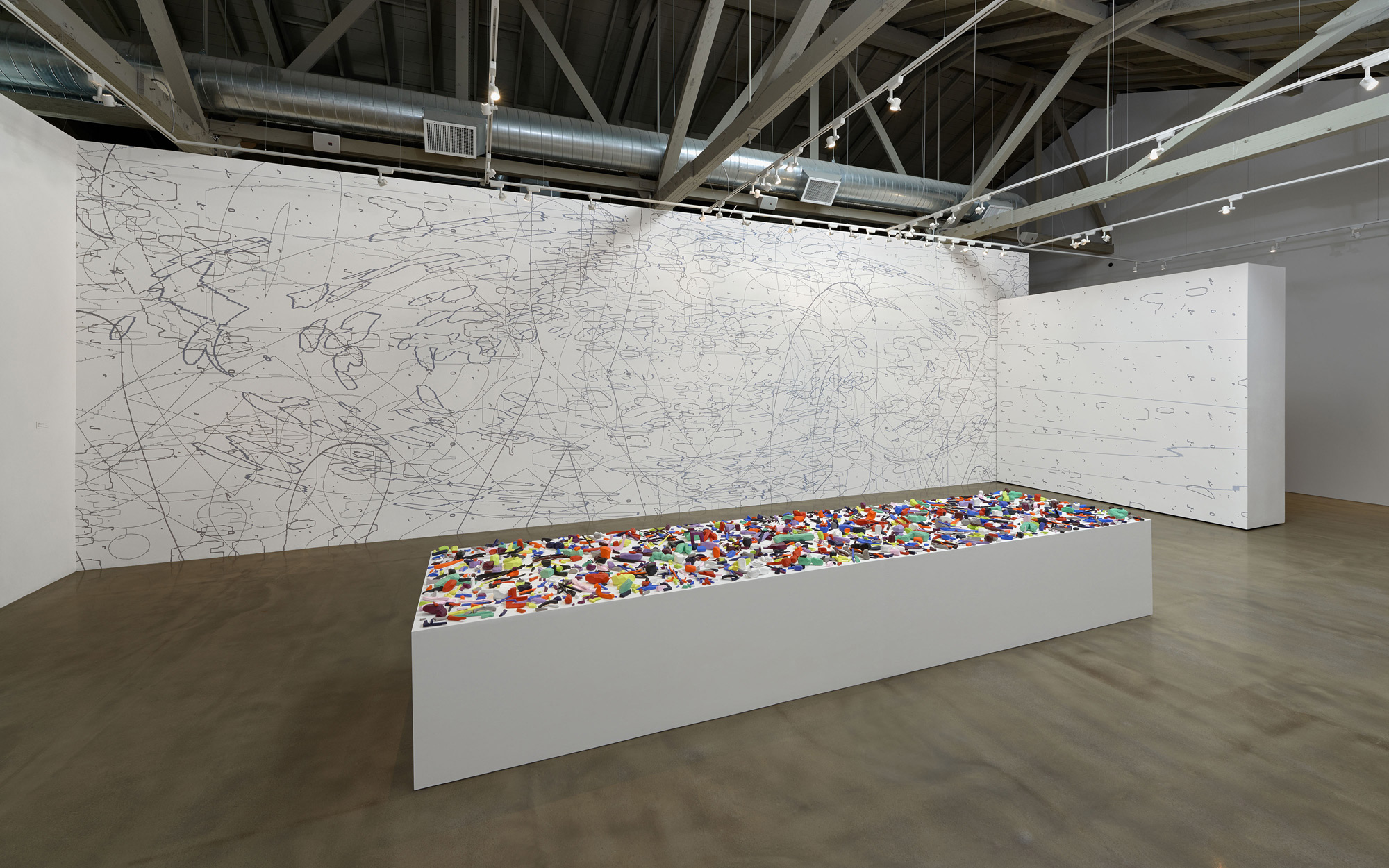 Variation: Large Delineation,  2014 site-specific mural, acrylic 13 x 40 feet, 10 x 12 feet