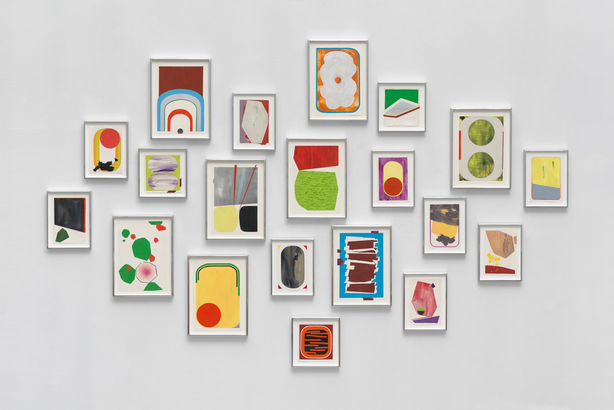 Oil Studies,  2013 oil on paper 20 framed works, 58 x 92 inches overall 8 at 14½ x 10¾ inches 9 at 10¼ x 7¾ inches 3 at 6⅞ x 6⅝ inches