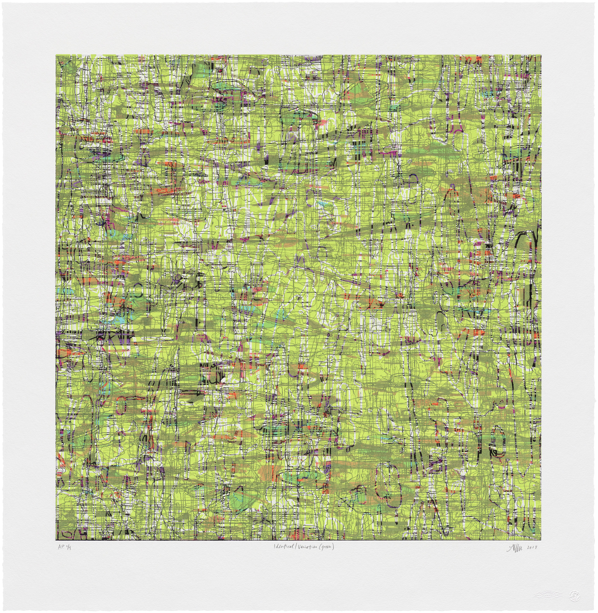 Identical/Variation (Green),  2018  Etching, UV acrylic and woodblock relief image: 28 x 28 inches; paper: 35 x 34 inches Edition of 12, 4 APs, 2 PPs