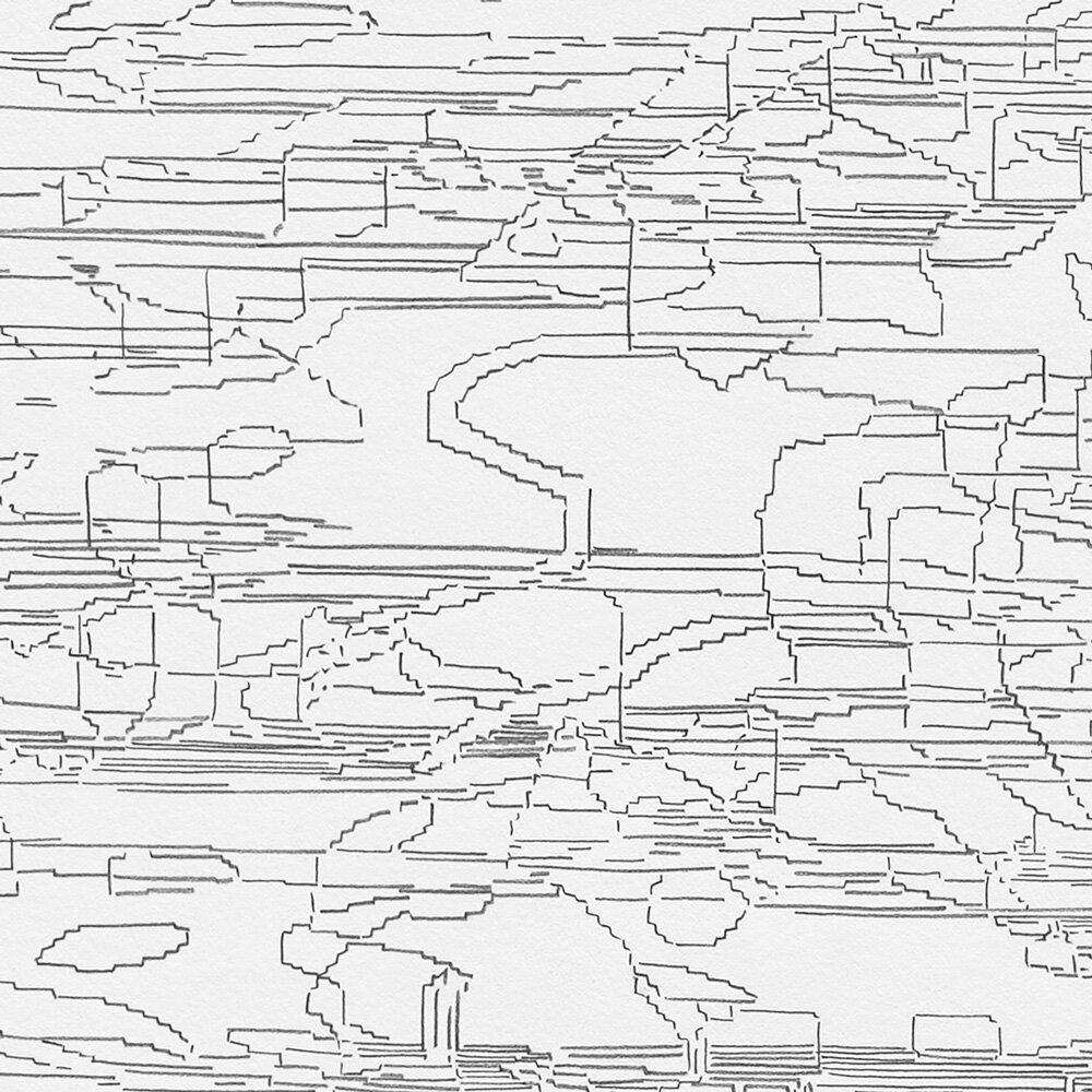 Detail Image  Schematic: Variation: Bridge (white, black, pink) No. 1,  2019 Graphite on Rising Stonehenge paper Image size: 45.5 x 35.75 inches Paper size: 48 x 37.75 inches