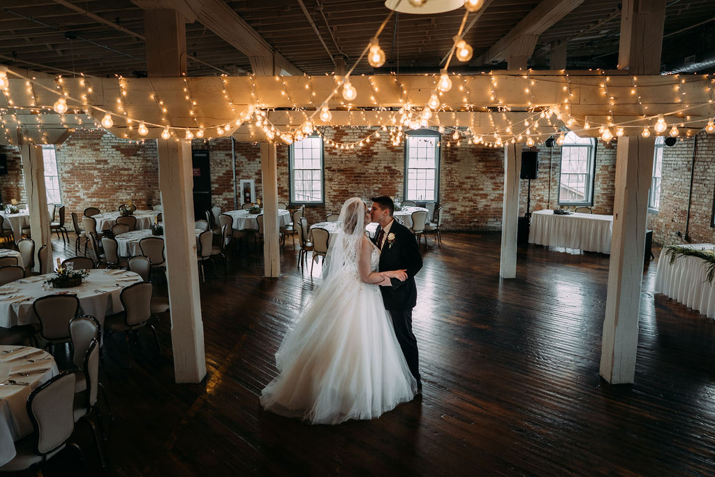 Bend and Madison dance before their guests arrive at their Goshen Indiana wedding