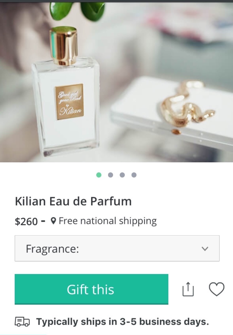 I am totally obsessed with Kilian. This fragrance comes with it's own clutch. Two gifts in one. Yes!