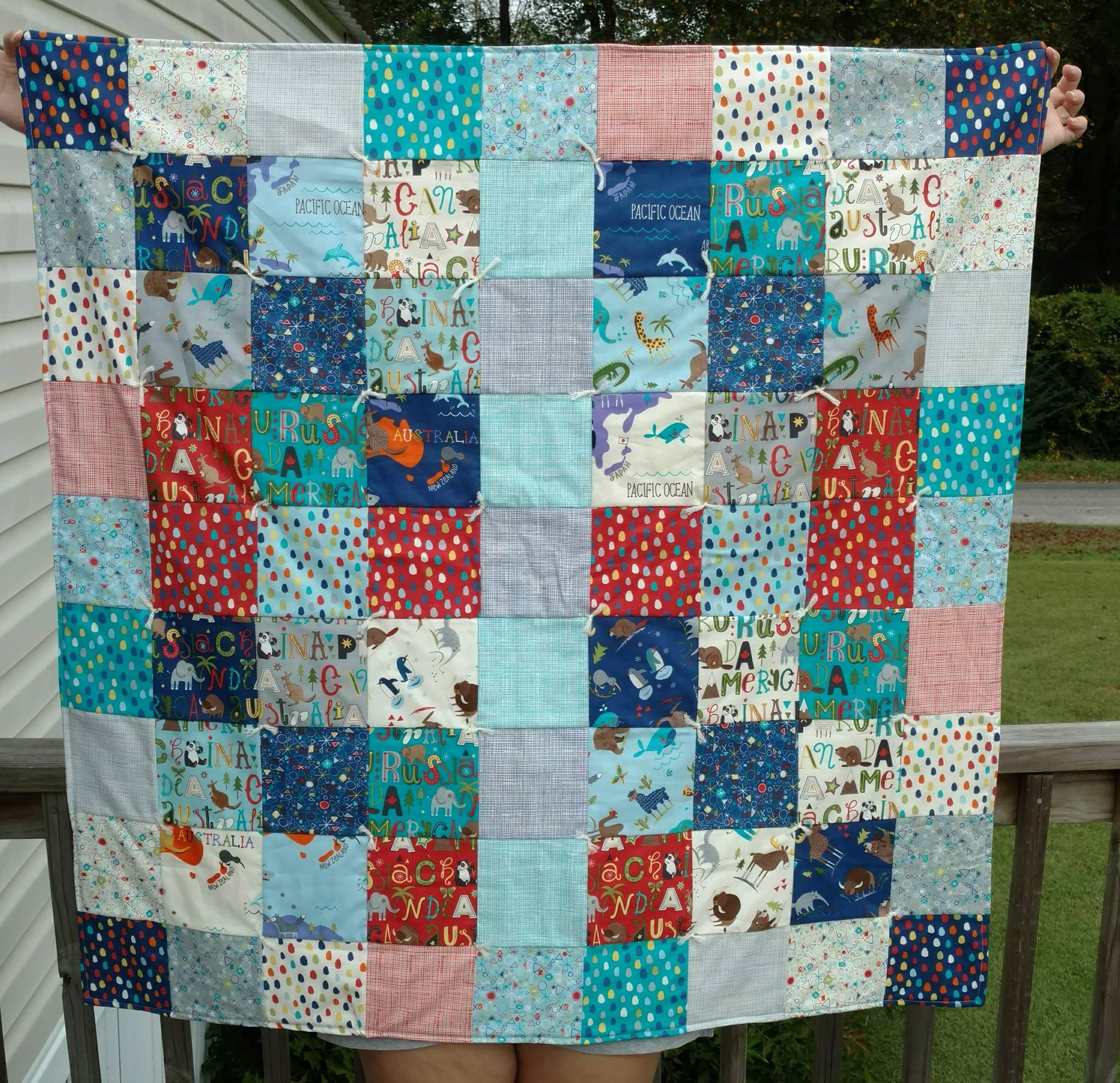The front of the baby quilt.