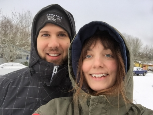 1st Pregnant Couple selfie!  Taken a week after we found out, and it finally decided to snow!