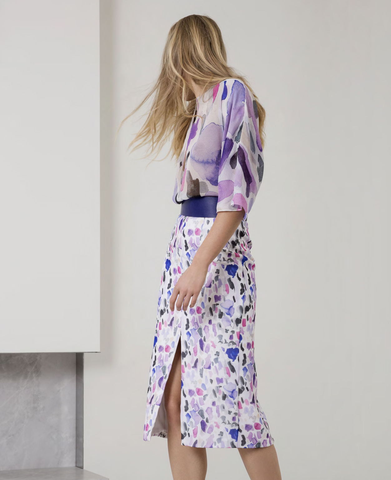 """The """"ink blot"""" chiffon printed blouse and skirt"""