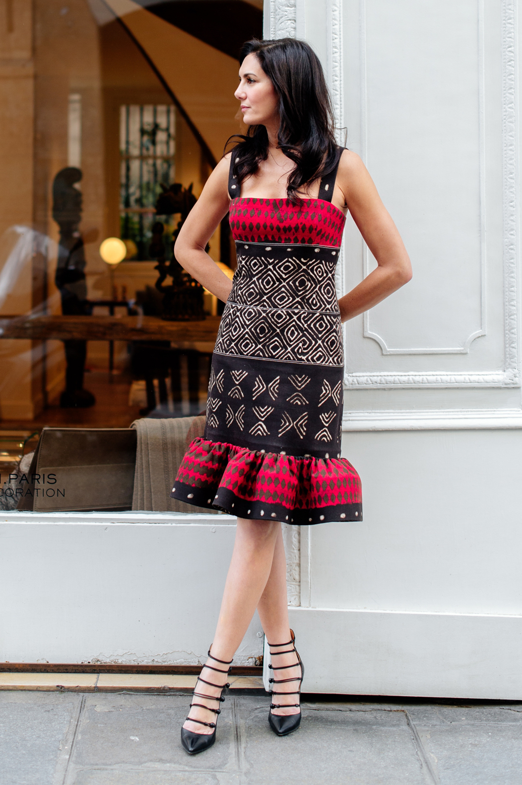 Oscar de la Renta cotton/canvas ethnic print dress
