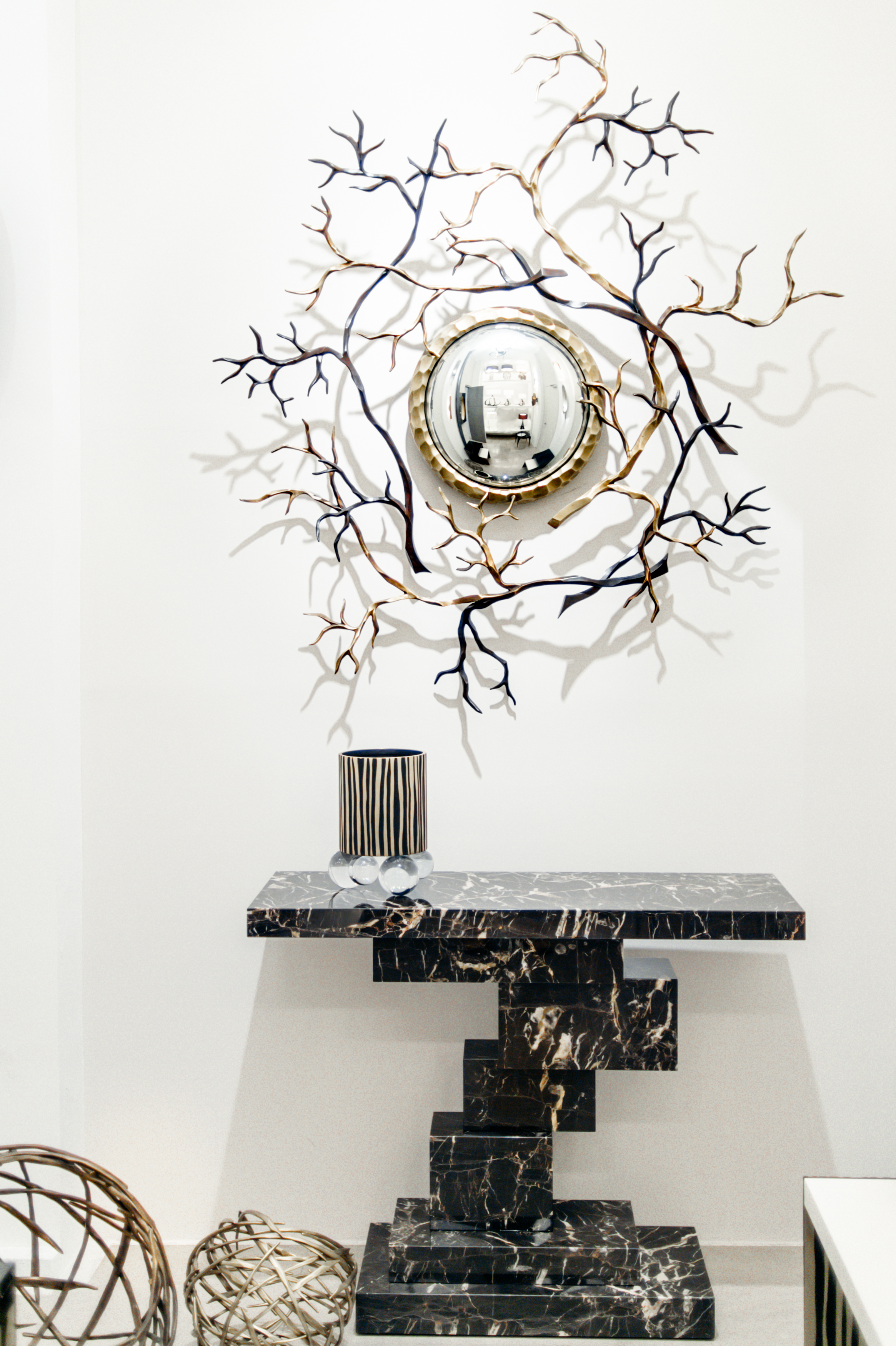 Marble  Console Kasimir   and decorative  Miroir Branches